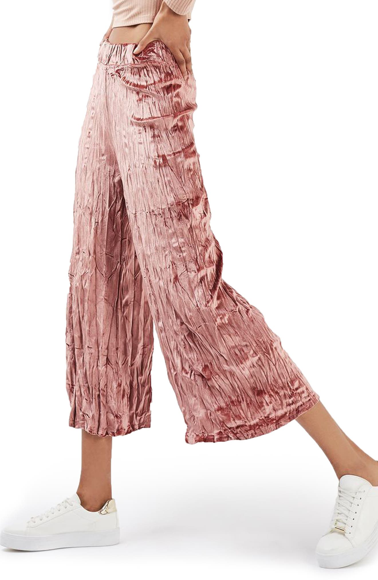 Main Image - Topshop Crushed Velvet Trousers