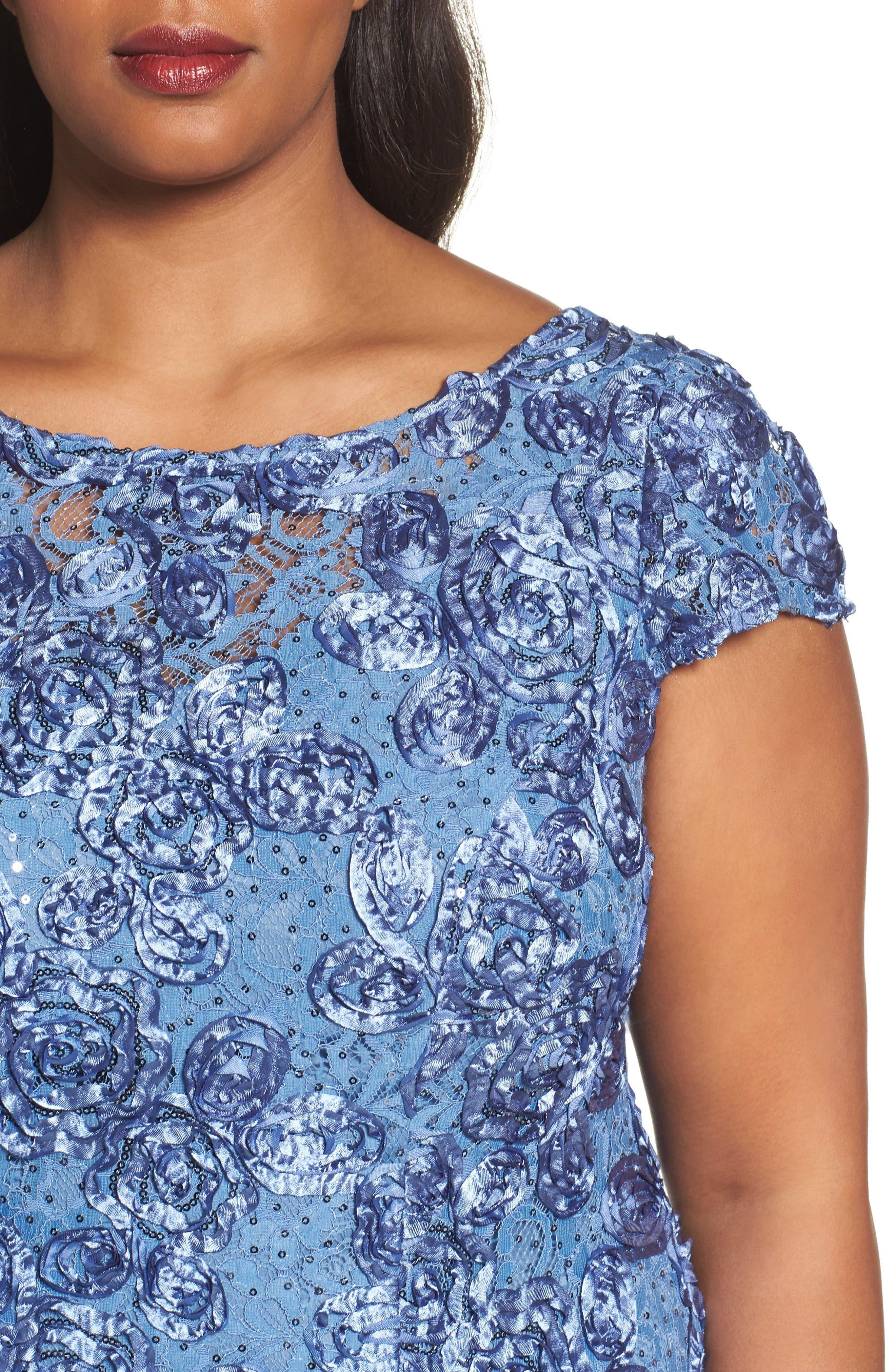 Alternate Image 4  - Alex Evenings Rosette Fit & Flare Dress (Plus Size)