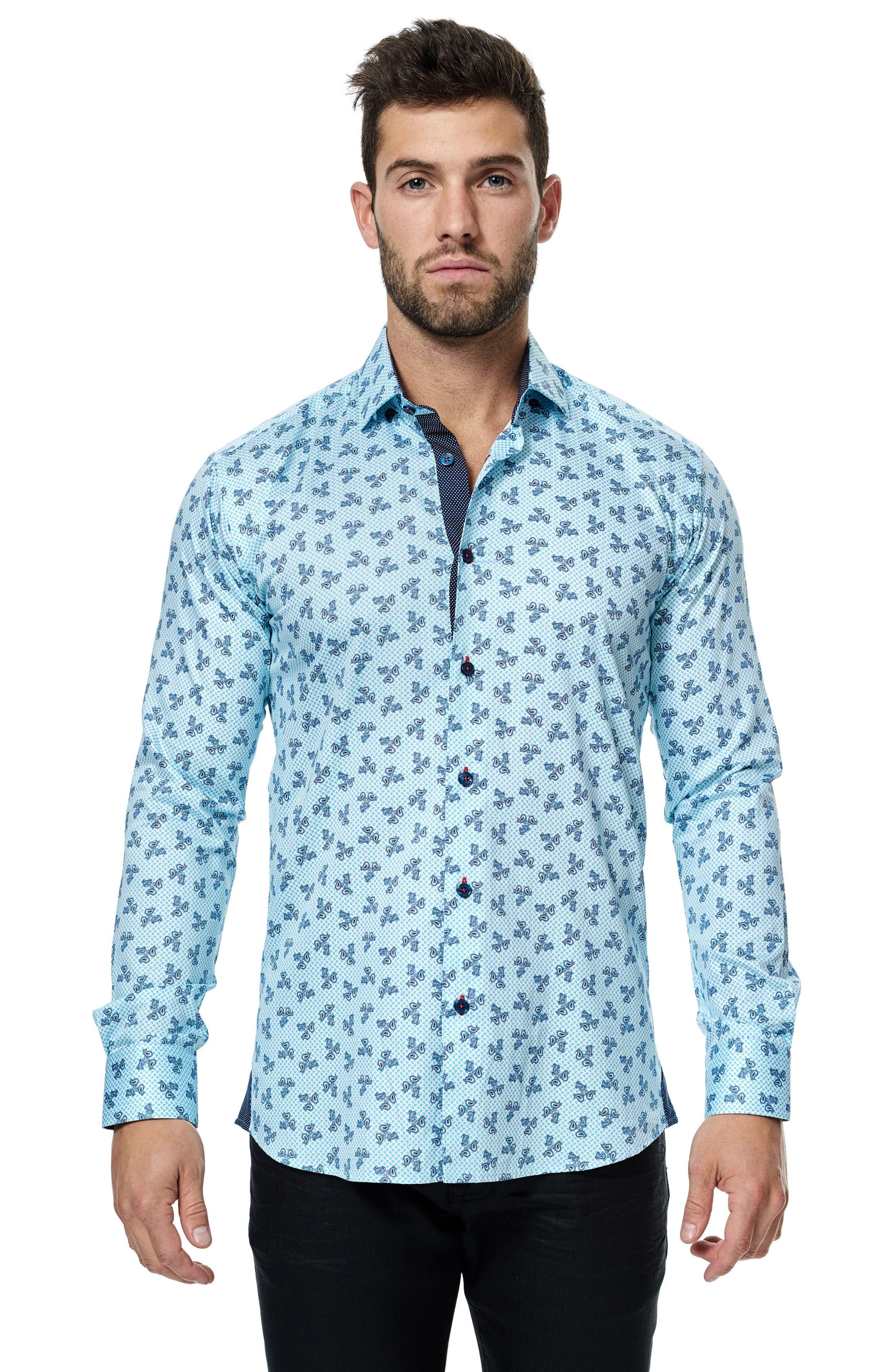 Class Paisley Trim Fit Sport Shirt,                             Alternate thumbnail 3, color,                             Turquoise