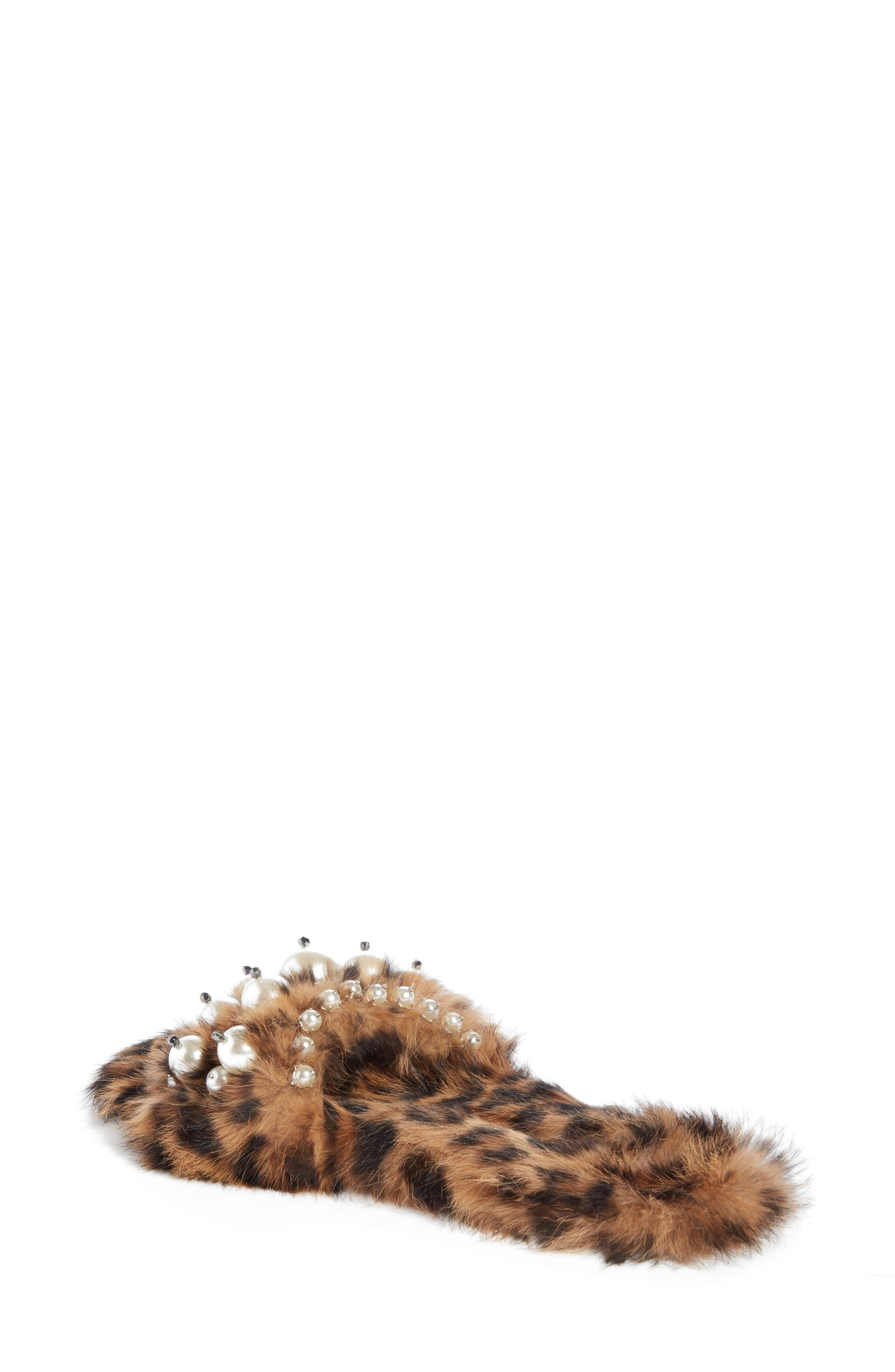 Genuine Rabbit Fur Slide Sandal,                             Alternate thumbnail 2, color,                             Brown
