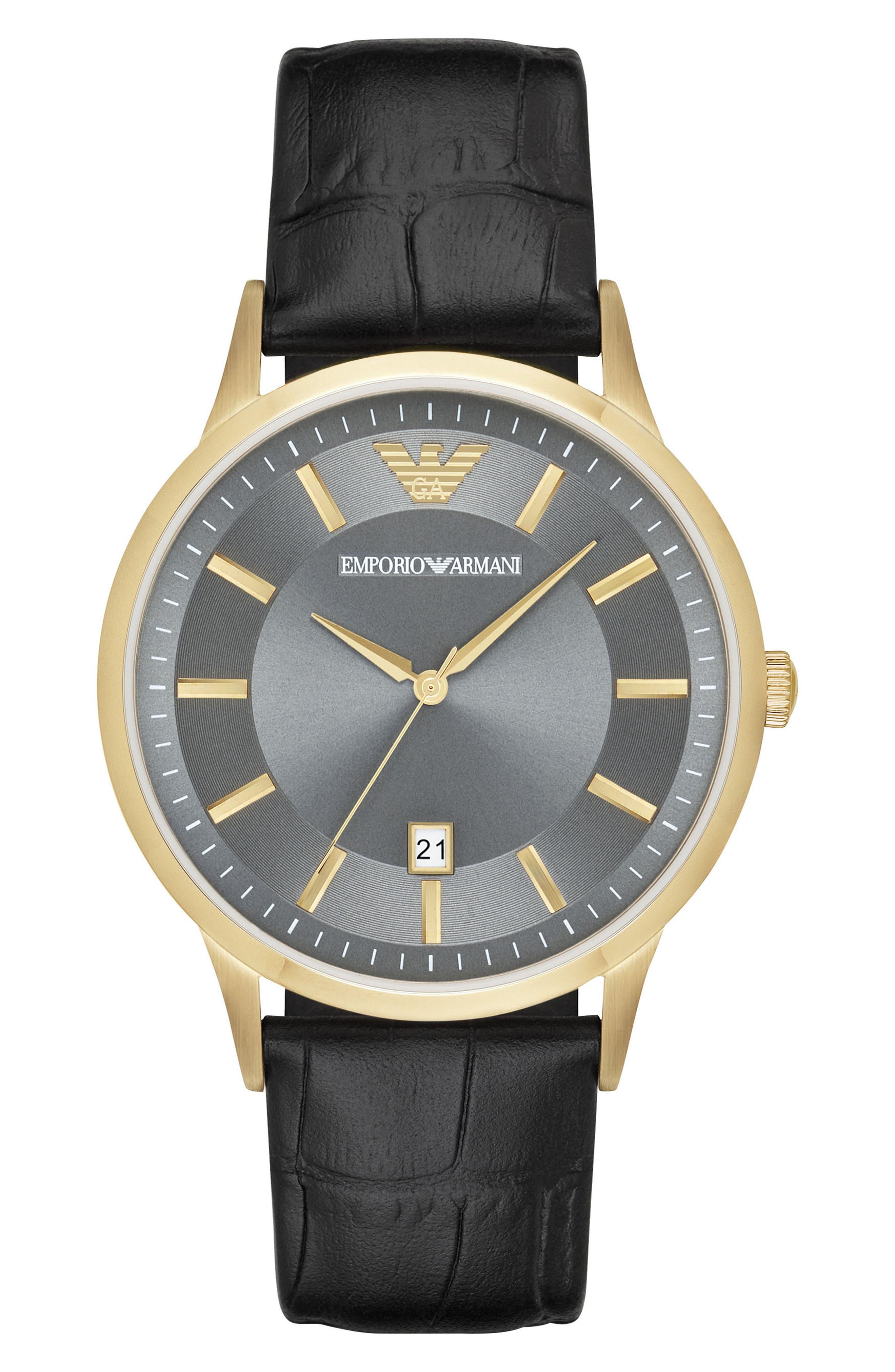 Slim Croc Embossed Leather Strap Watch, 43mm,                         Main,                         color, Grey/ Black