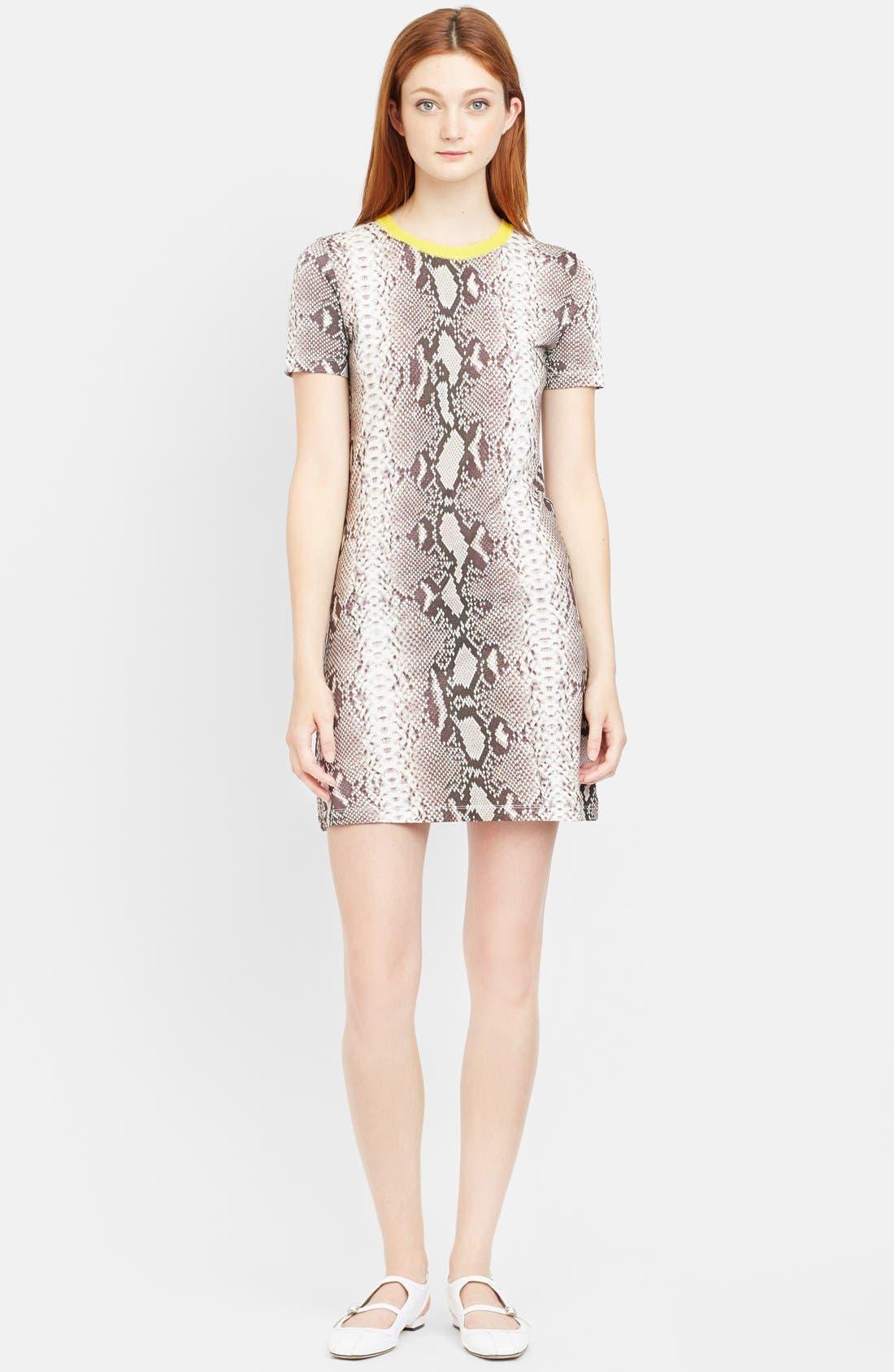 Alternate Image 1 Selected - Carven Snakeskin Print Jersey T-Shirt Dress