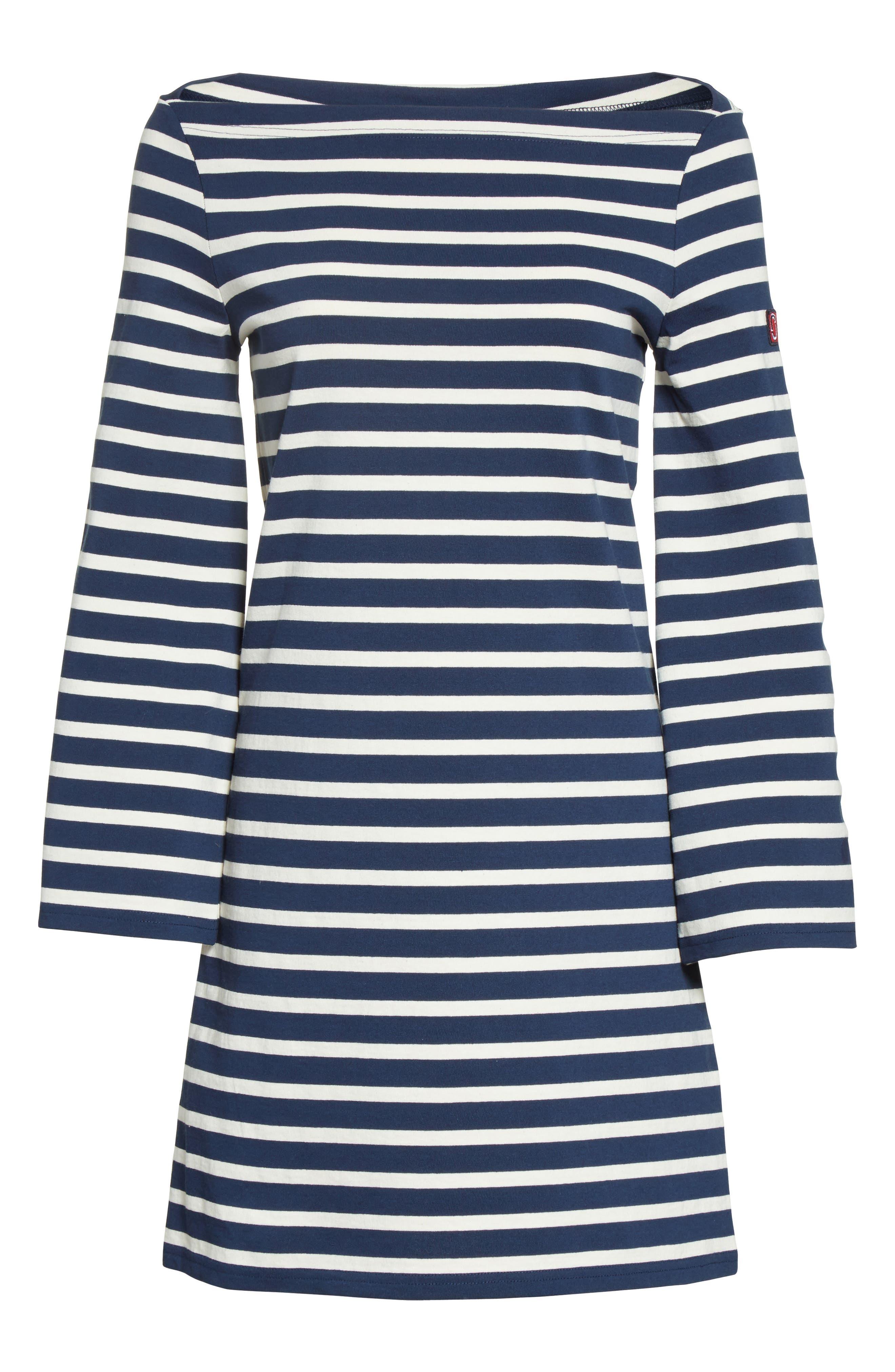 Reverse Breton Stripe Dress,                             Alternate thumbnail 4, color,                             Navy/ Ecru