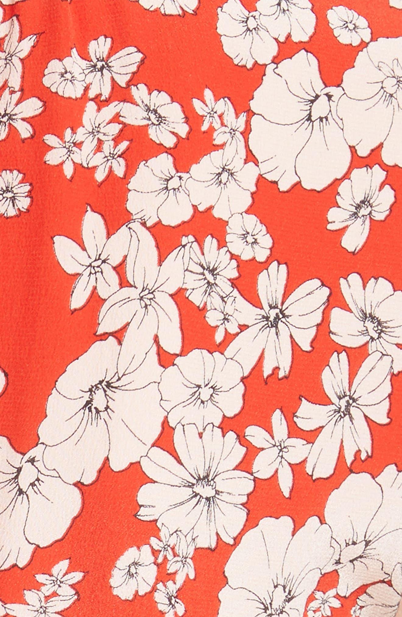Cherry Blossom Silk Wrap Dress,                             Alternate thumbnail 5, color,                             Candy Apple Combo