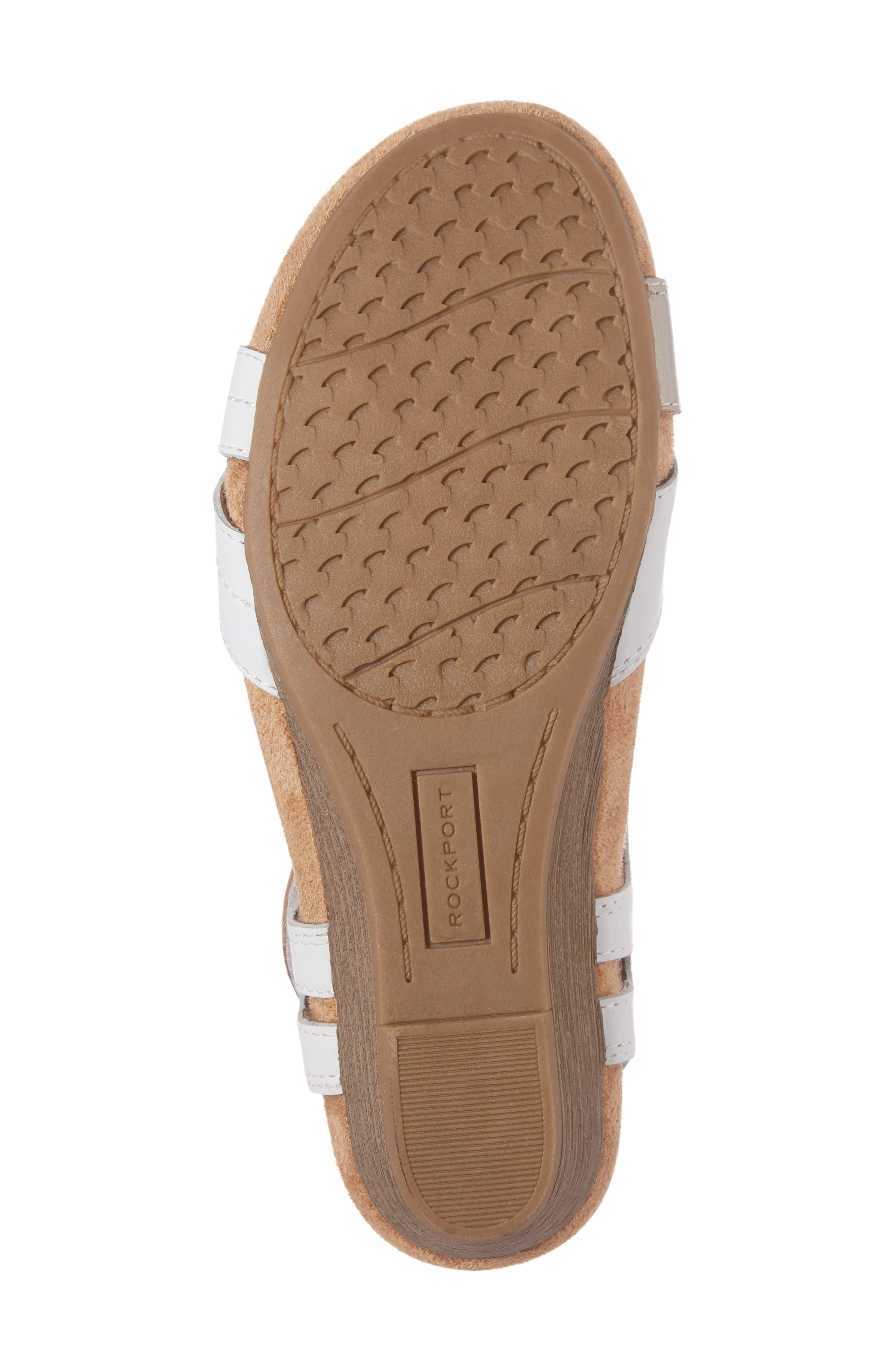 Hollywood Wedge Sandal,                             Alternate thumbnail 6, color,                             White Leather