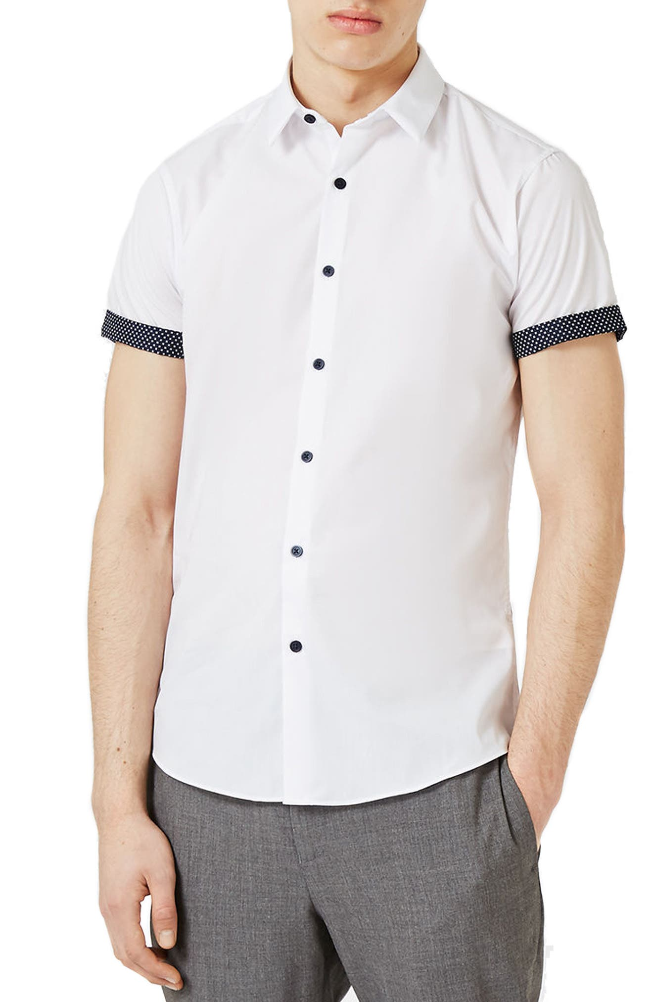 Dot Cuff Shirt,                         Main,                         color, White Multi