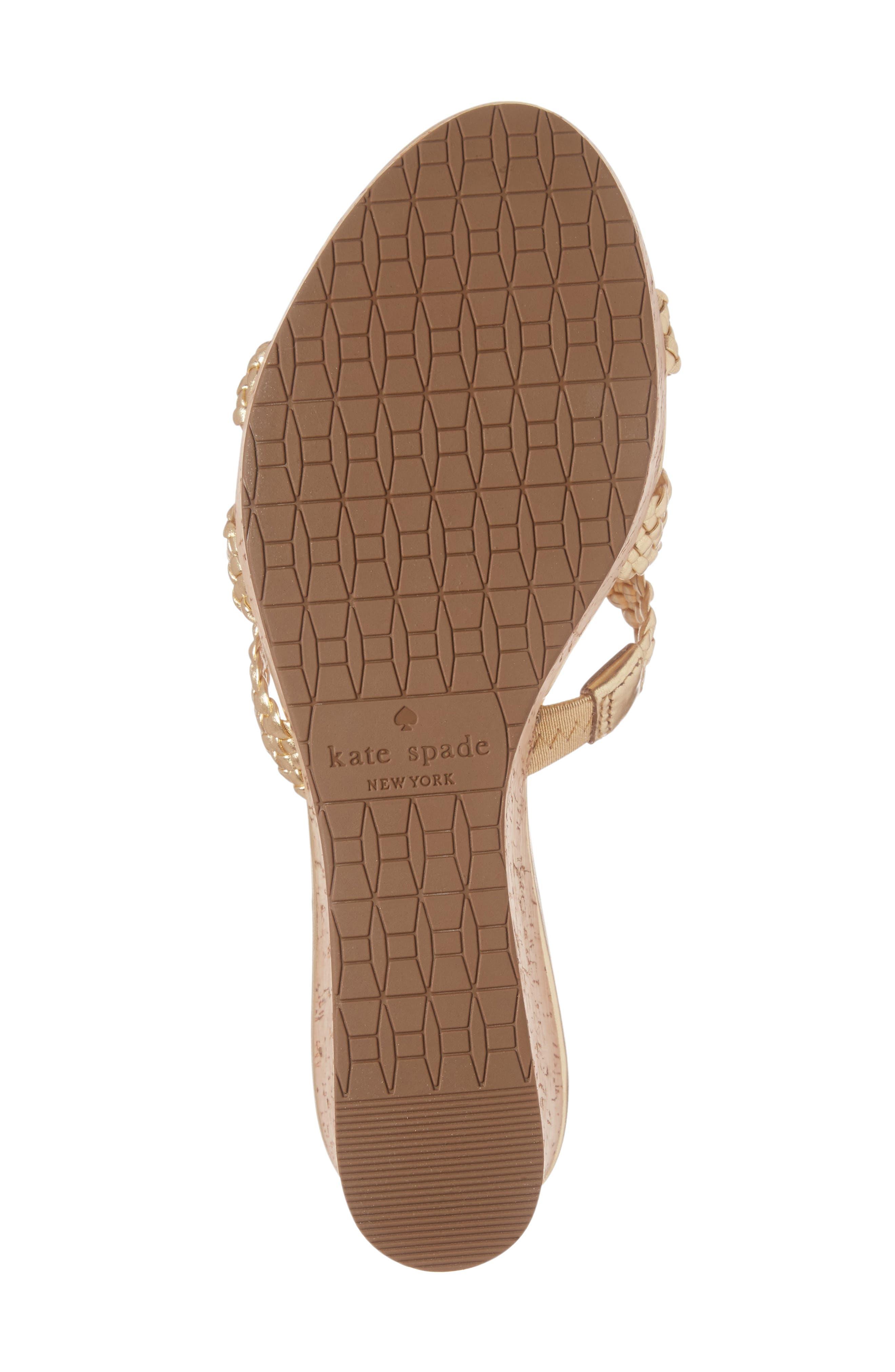 tarvela wedge sandal,                             Alternate thumbnail 6, color,                             Old Gold Woven Metallic Nappa