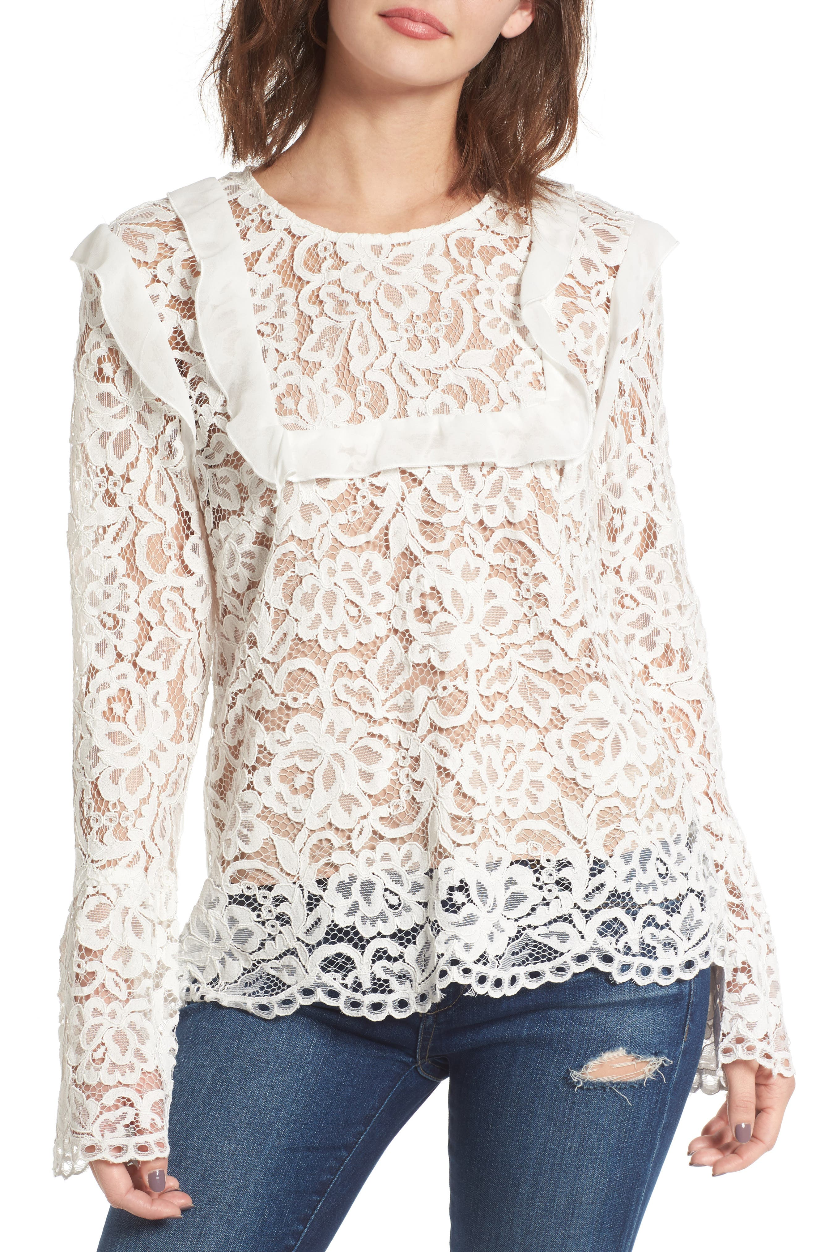 Lydia Lace Top,                         Main,                         color, Ivory Lace