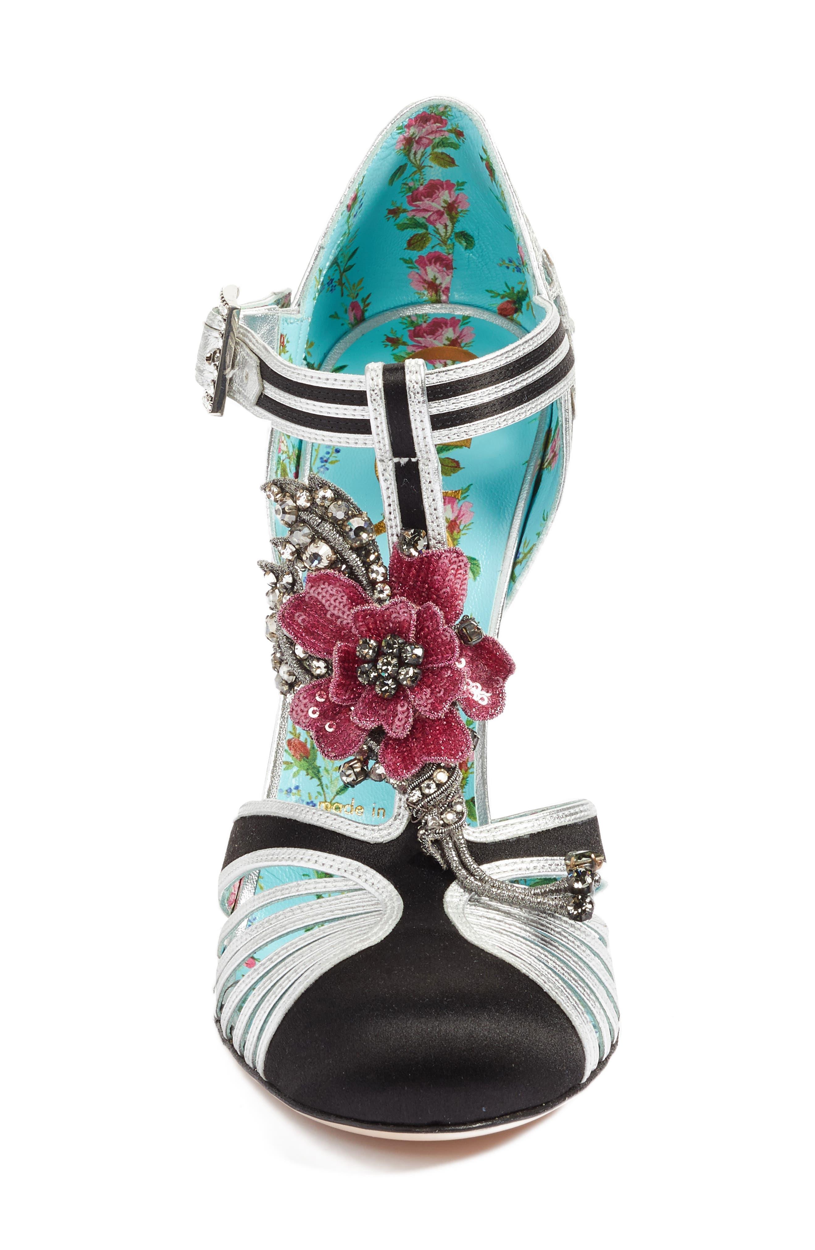 Mariska Embellished T-Strap Pump,                             Alternate thumbnail 4, color,                             Black Multi