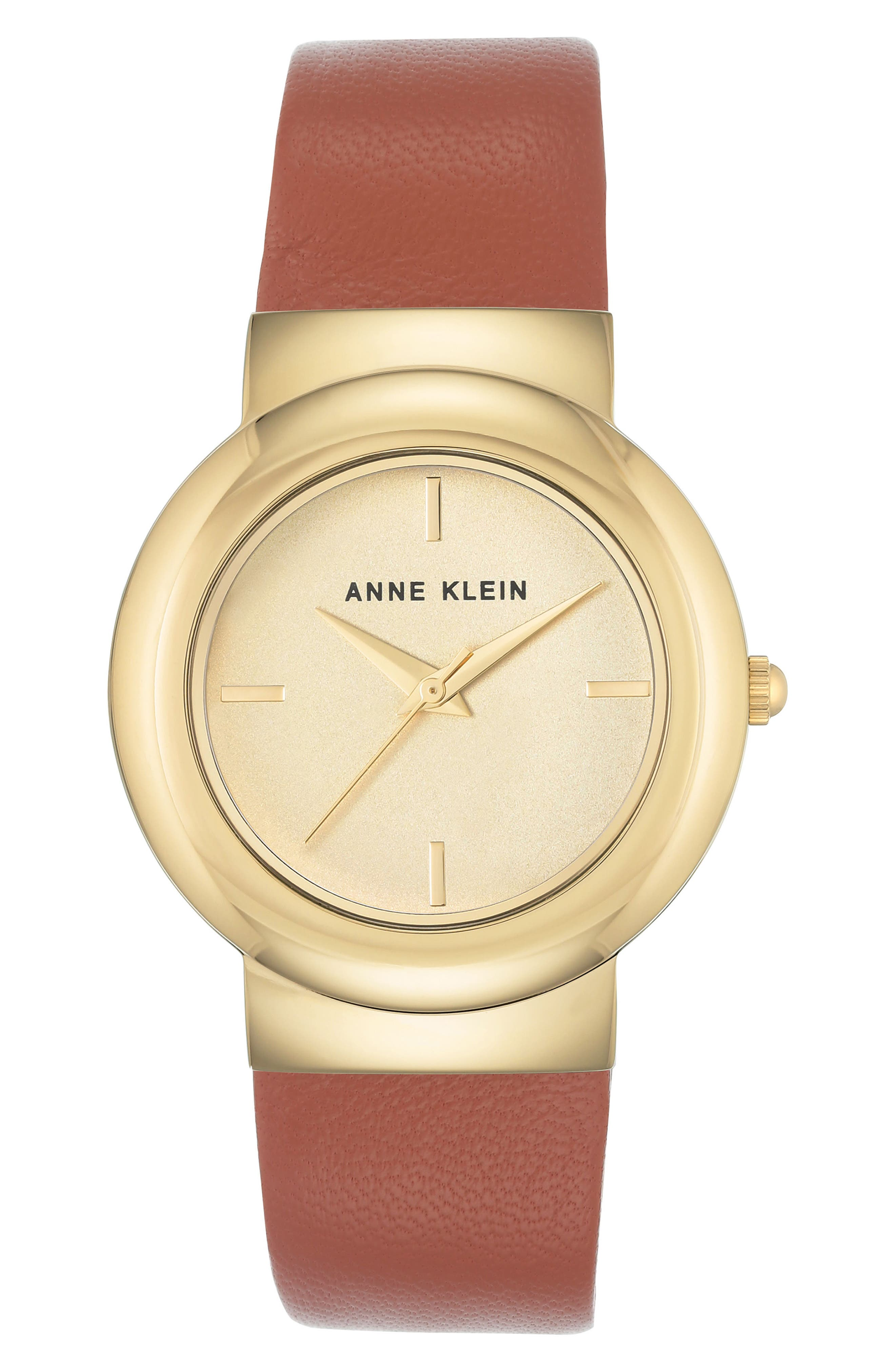 Alternate Image 1 Selected - Anne Klein Round Leather Strap Watch, 36mm