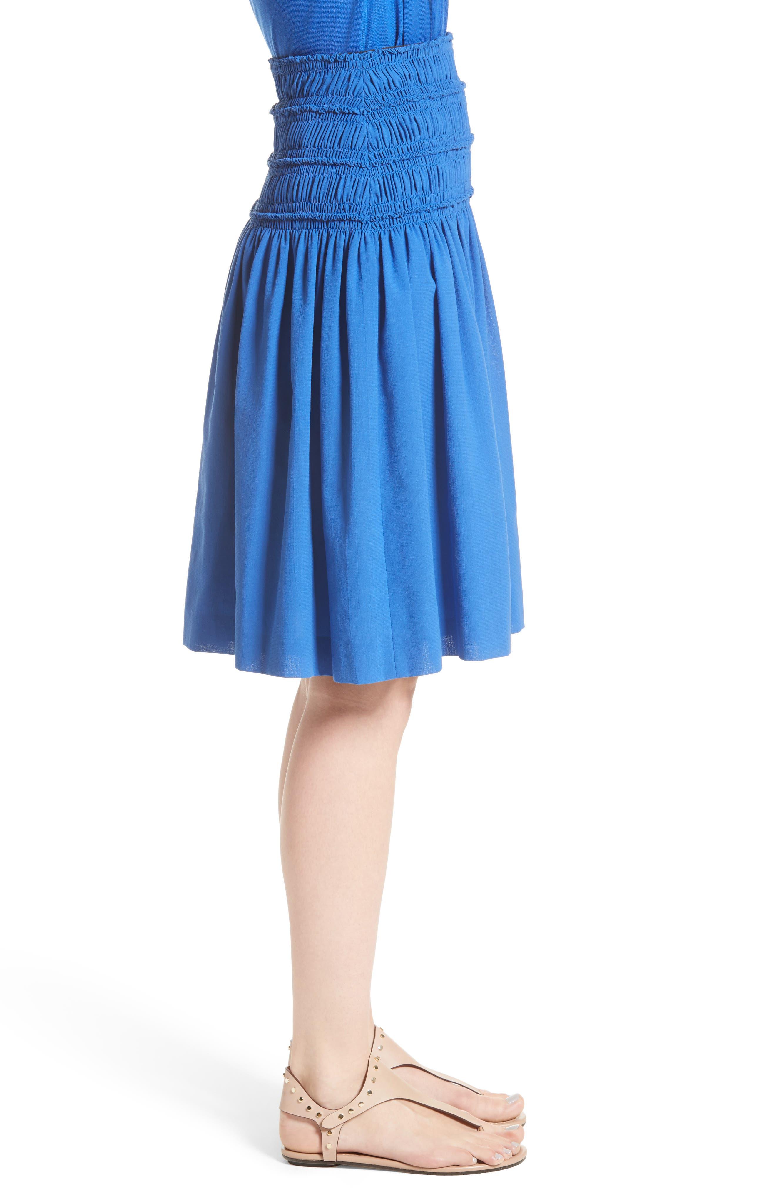 Akris Smocked Ruffle Skirt,                             Alternate thumbnail 5, color,                             Blue