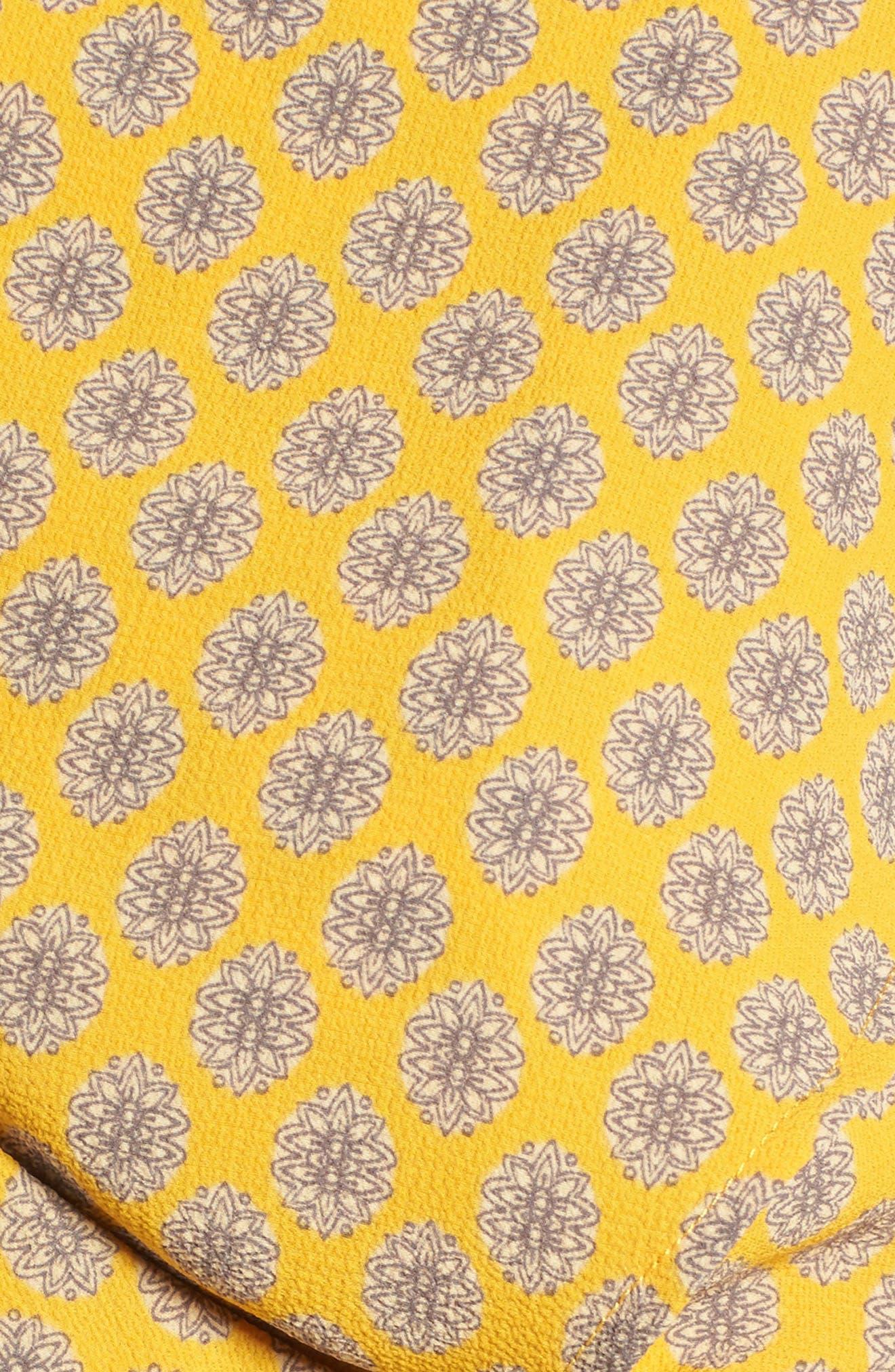 Cape Sleeve Wrap Crop Top,                             Alternate thumbnail 5, color,                             Gold/Grey