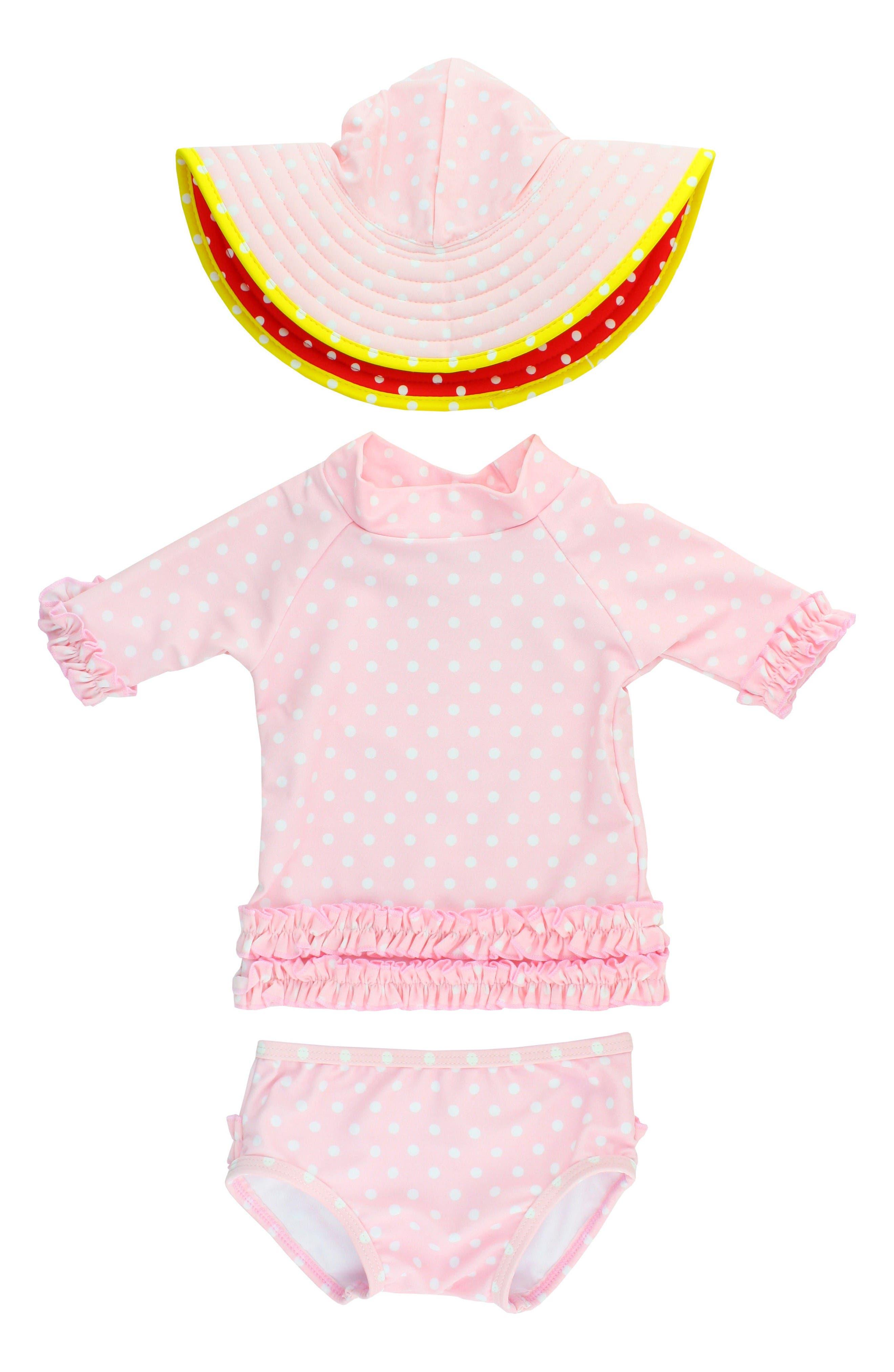 Two-Piece Rashguard Swimsuit & Hat Set,                         Main,                         color, Pink