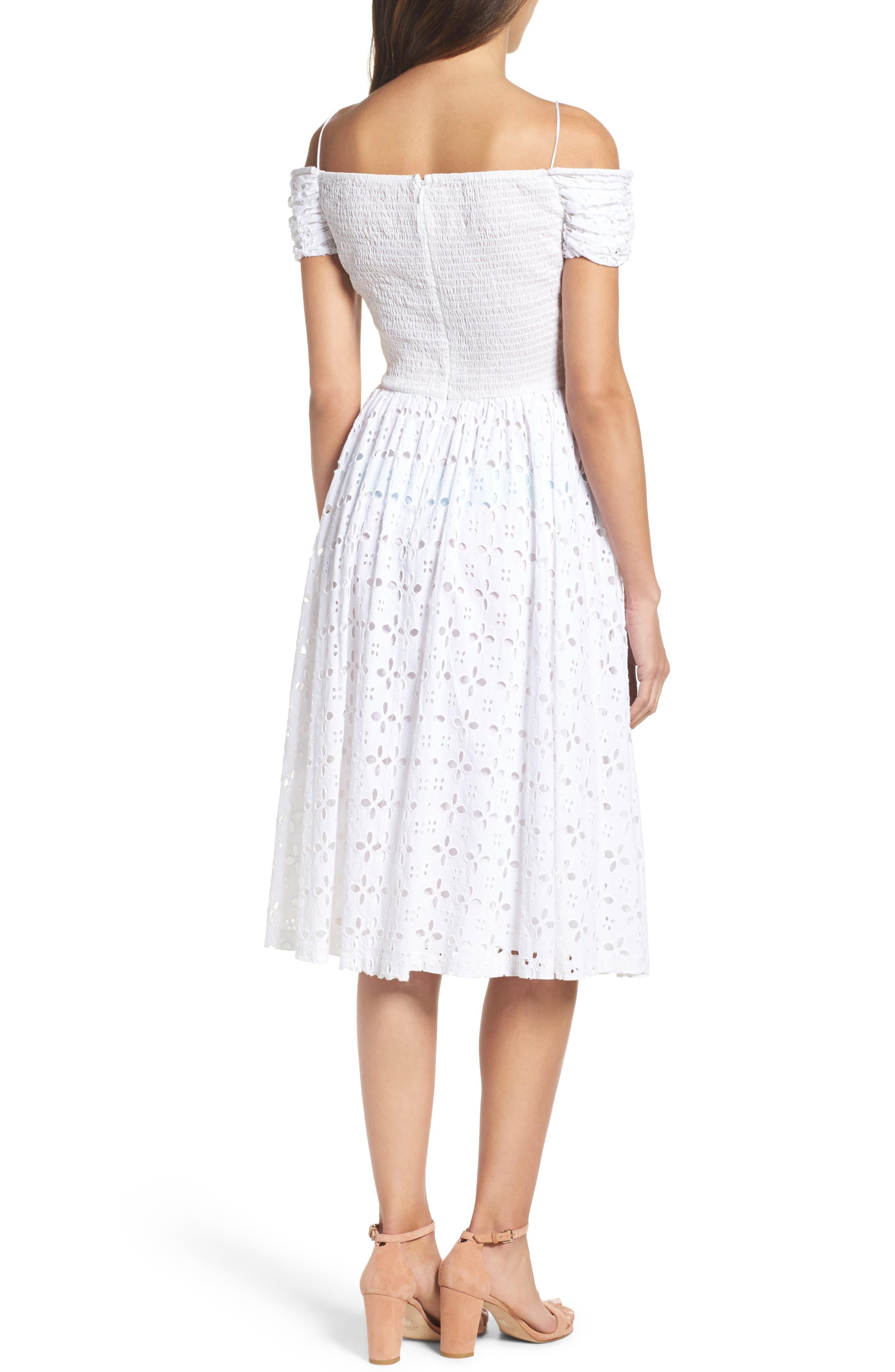 Off the Shoulder Midi Dress,                             Alternate thumbnail 2, color,                             White