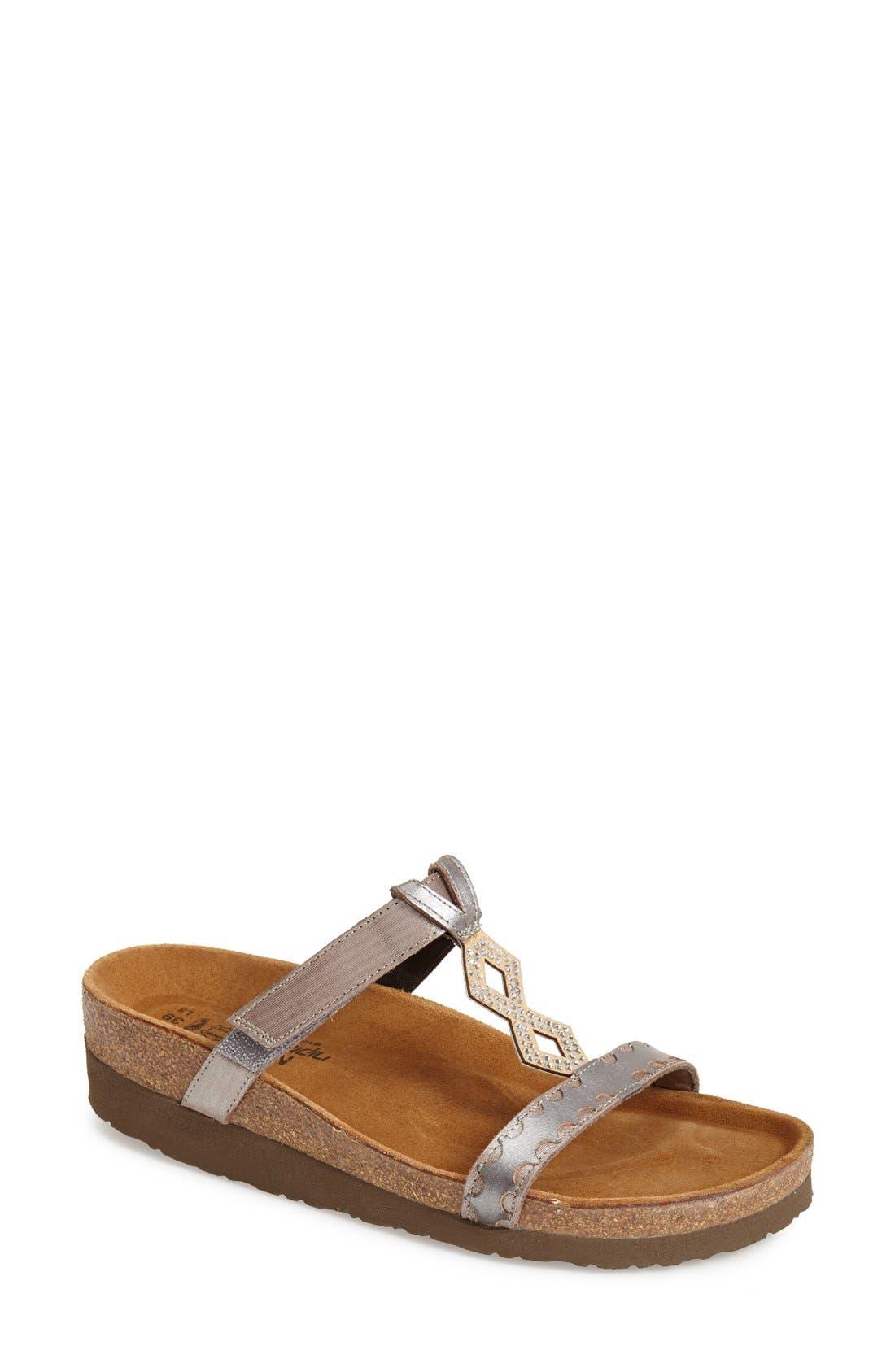 Embellished Walking Sandal,                         Main,                         color, Silver