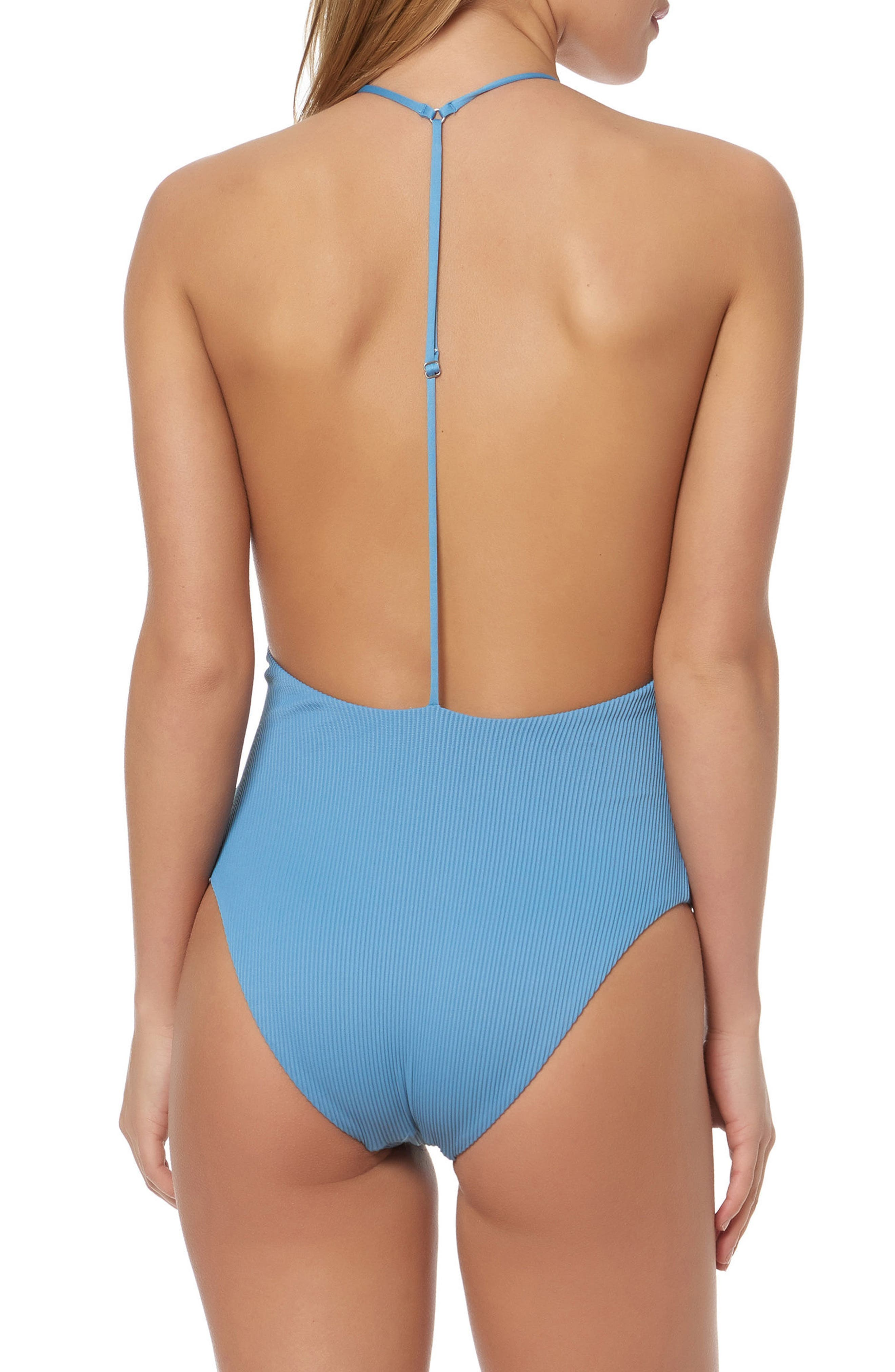 T-Back One-Piece Swimsuit,                             Alternate thumbnail 2, color,                             Skinny Dip