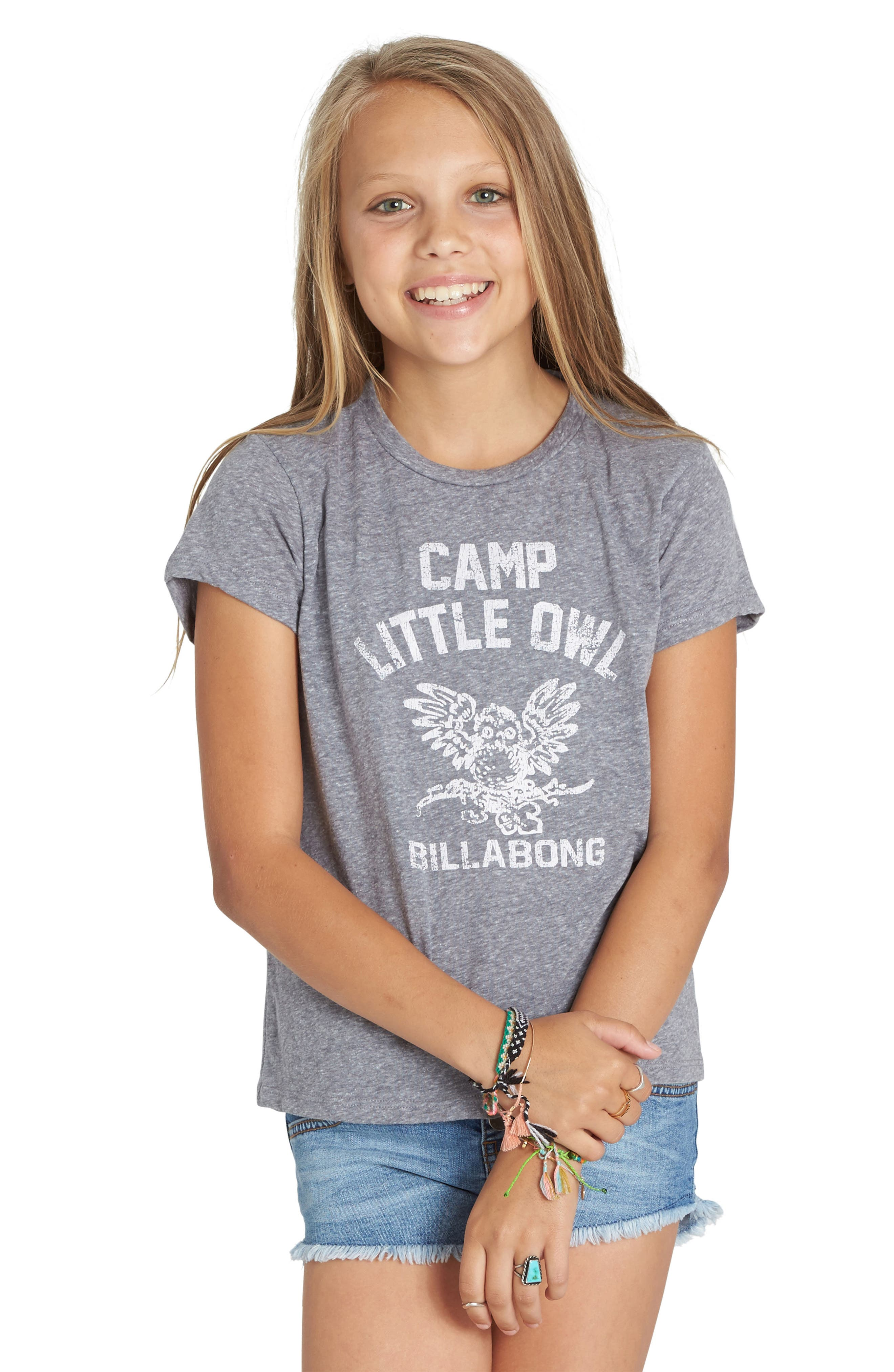 Little Owl Graphic Tee,                             Main thumbnail 1, color,                             Dark Athletic Grey