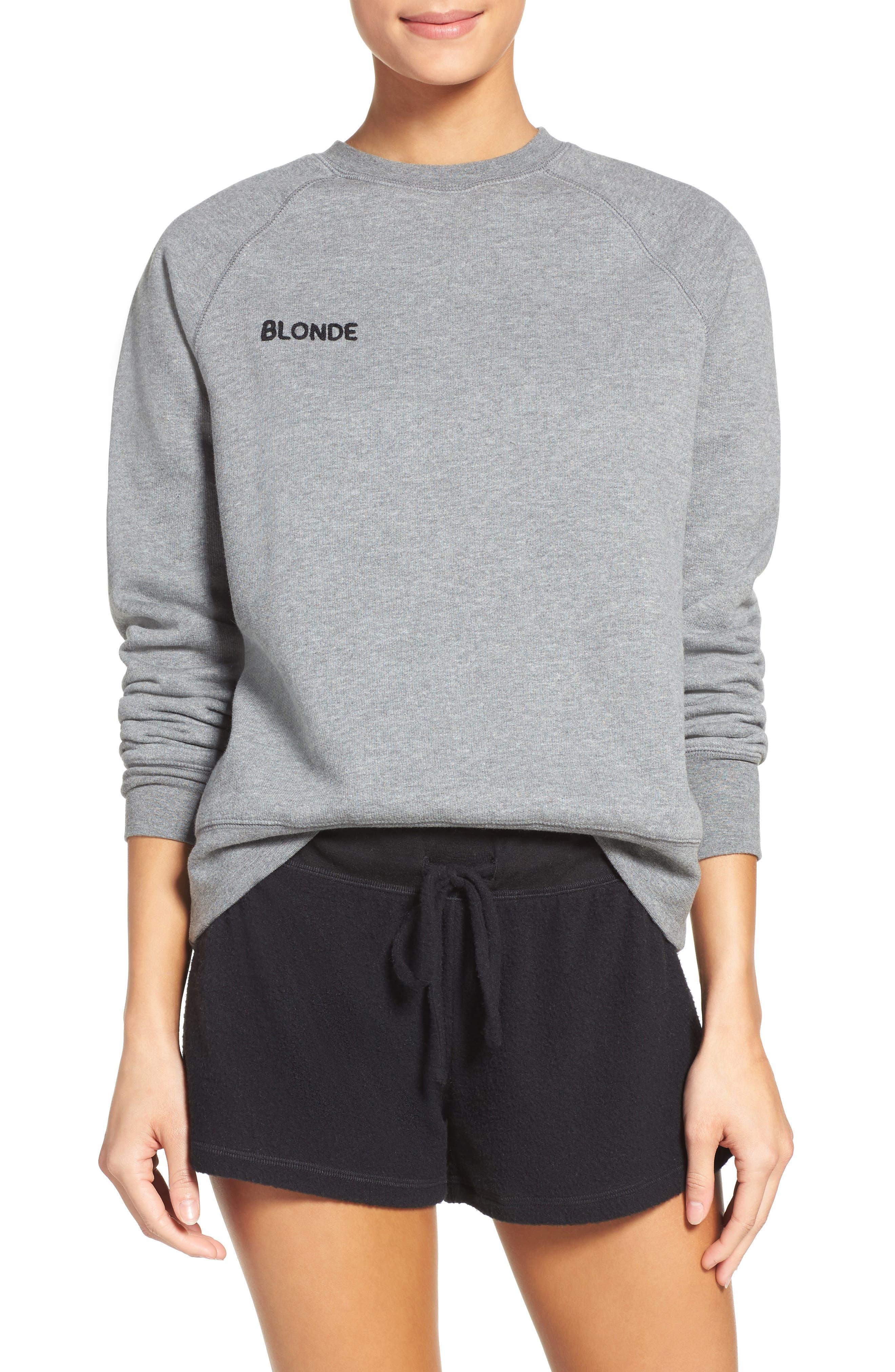Blonde Crewneck Sweatshirt,                             Main thumbnail 1, color,                             Heather Grey
