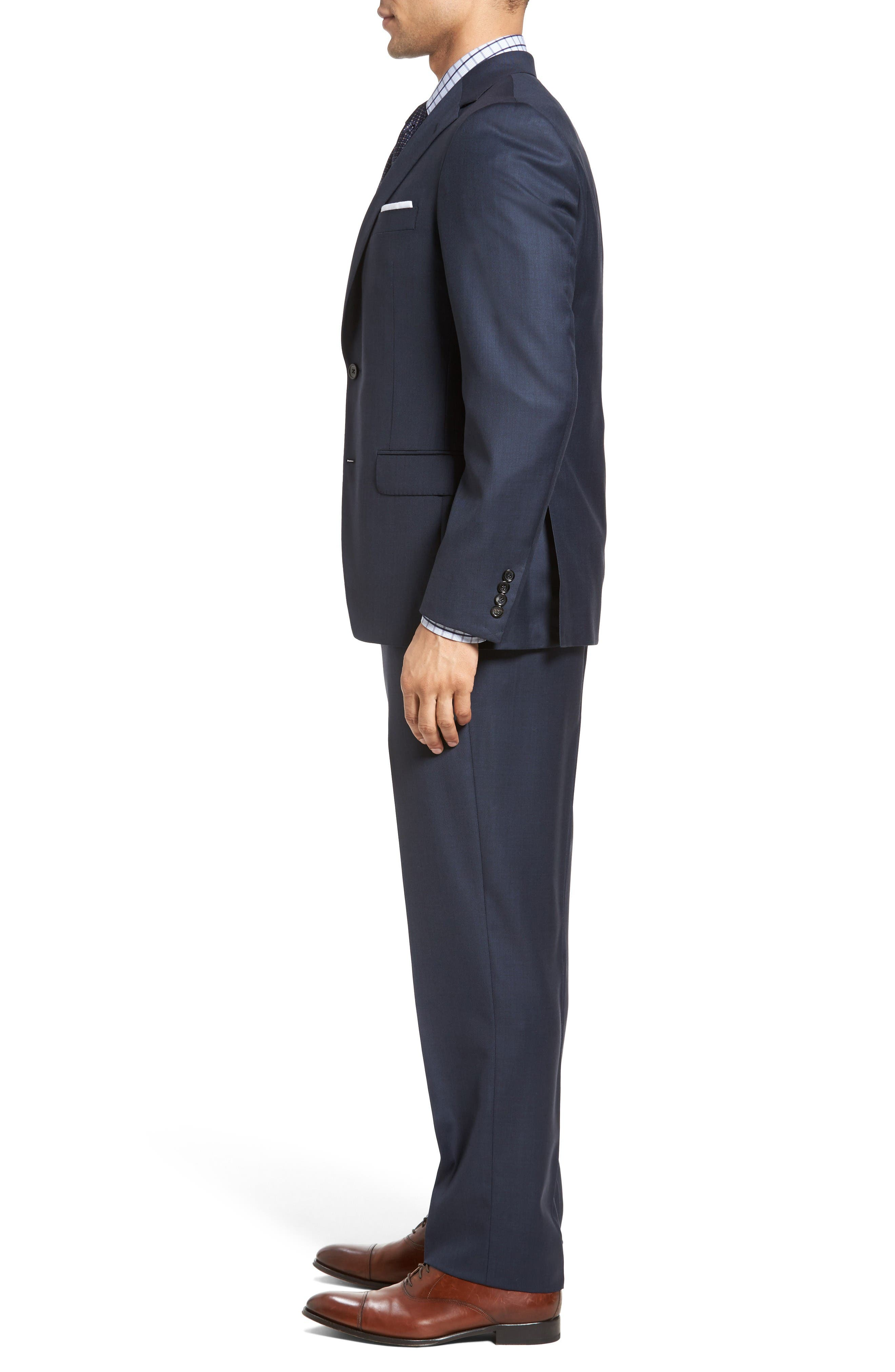 Classic Fit Sharkskin Wool Suit,                             Alternate thumbnail 3, color,                             Navy