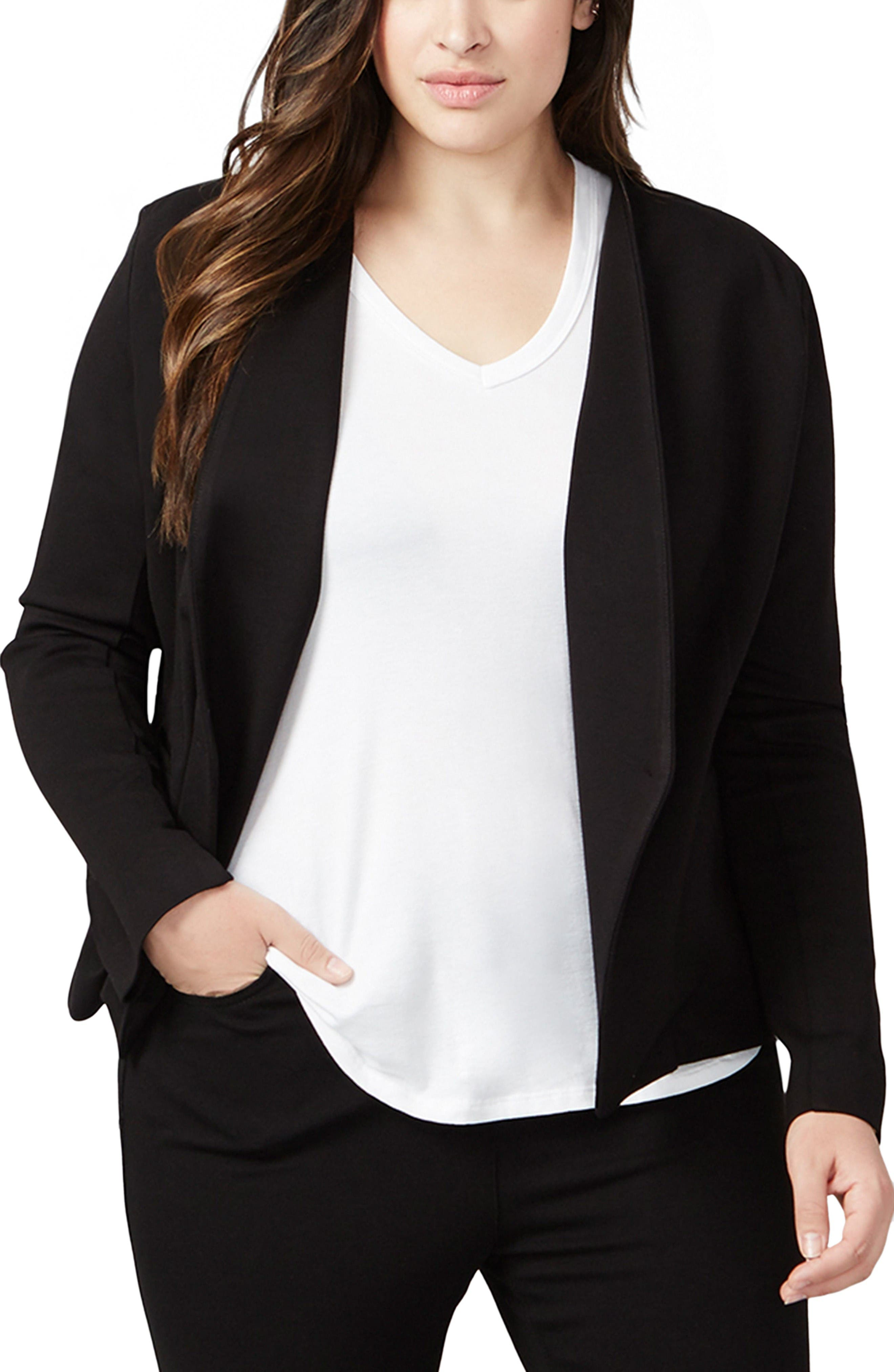 Alternate Image 1 Selected - RACHEL Rachel Roy Ponte Knit Jacket (Plus Size)