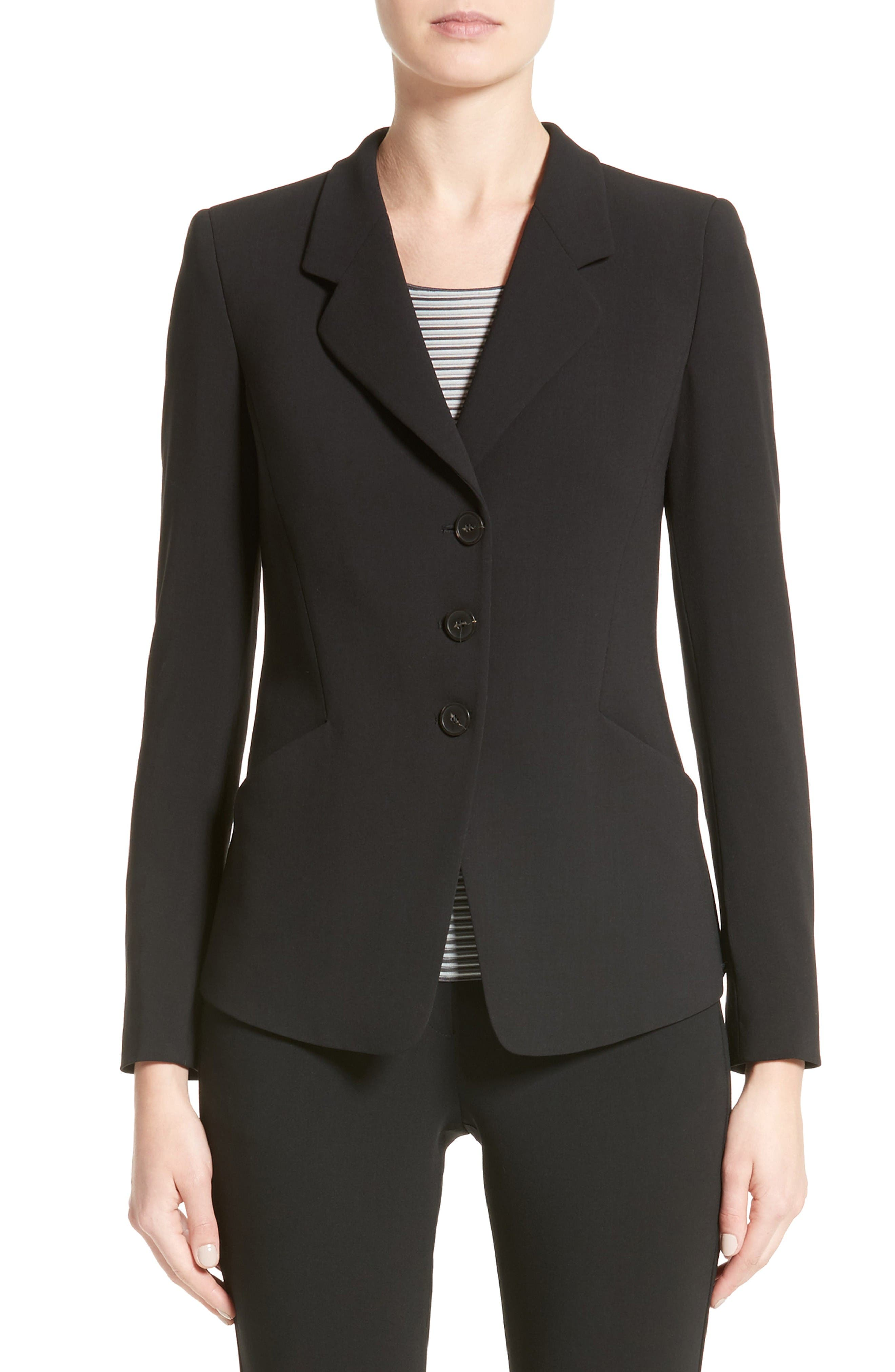 Stretch Wool Jacket,                             Main thumbnail 1, color,                             Black