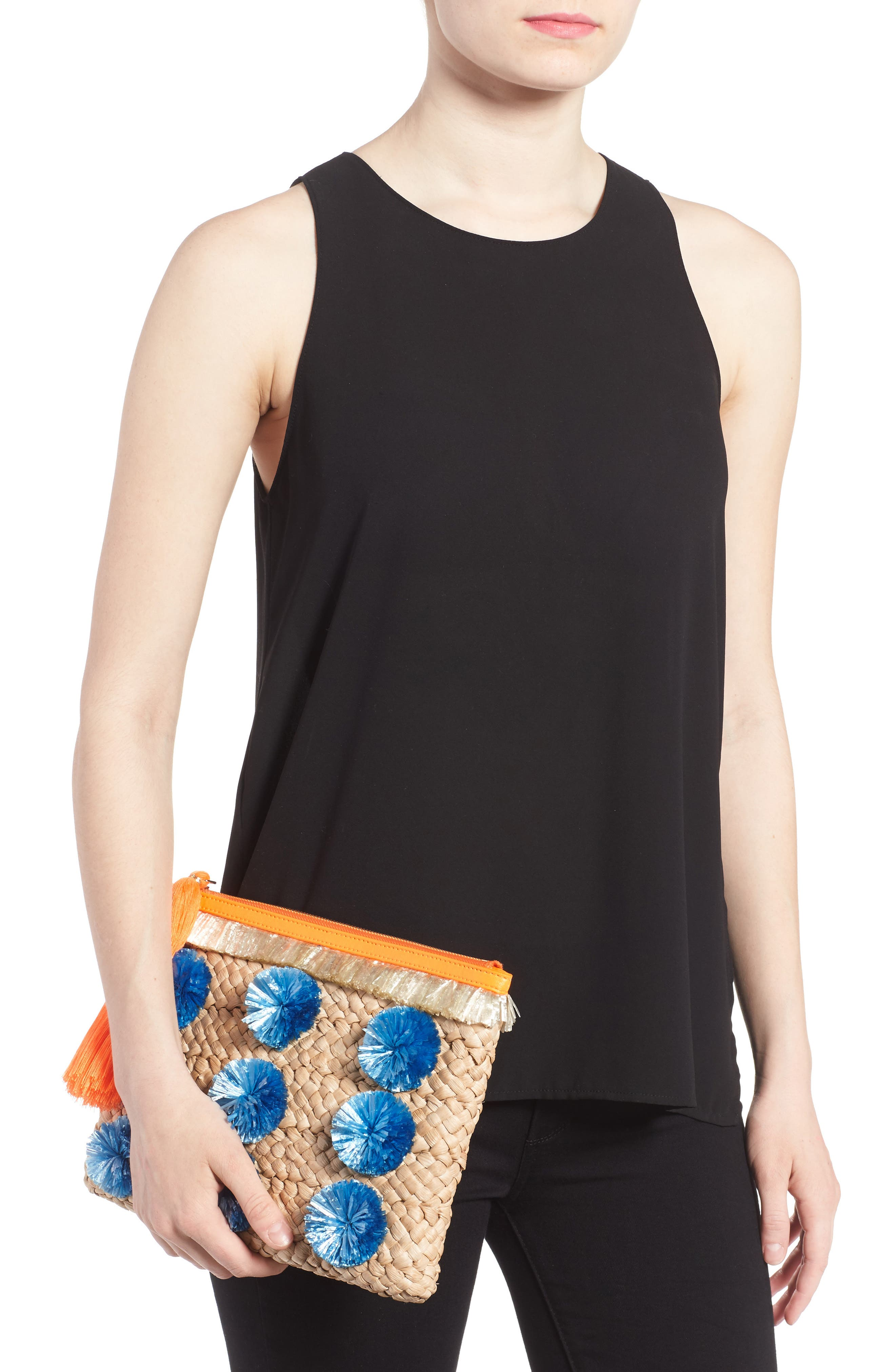 Alternate Image 2  - Milly Pompom Straw Clutch