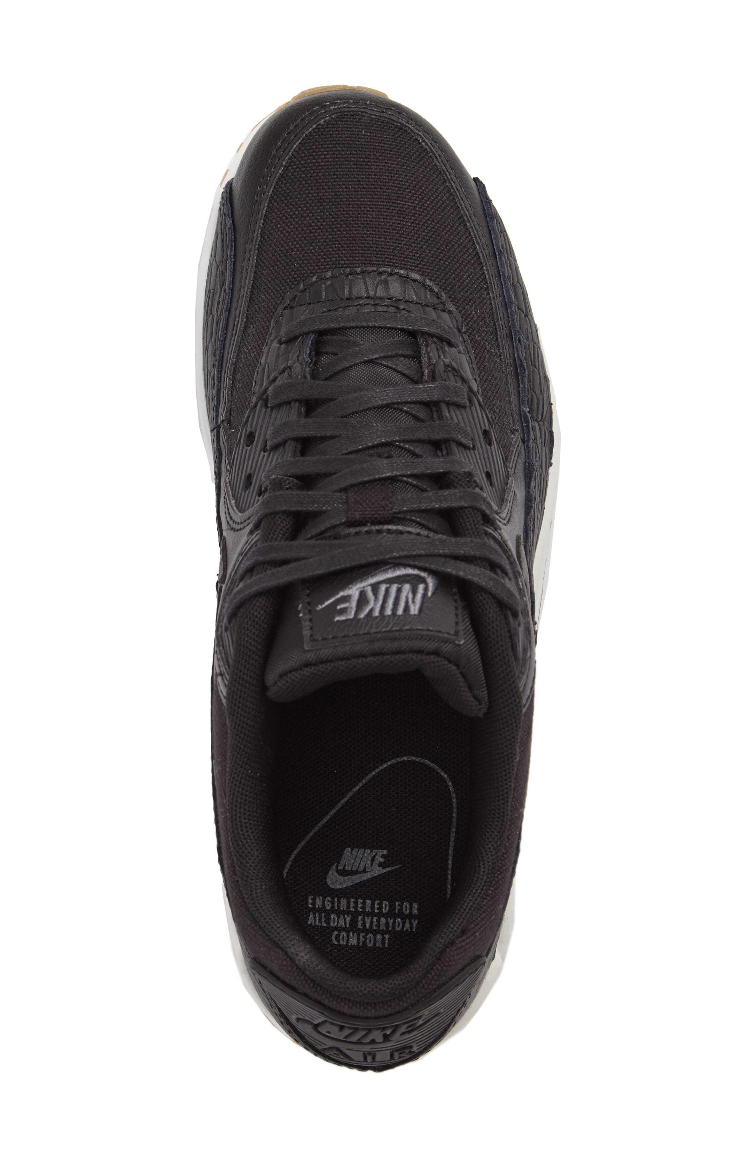 Air Max 90 Premium Leather Sneaker,                             Alternate thumbnail 5, color,                             Black/ Dark Grey/ Ivory