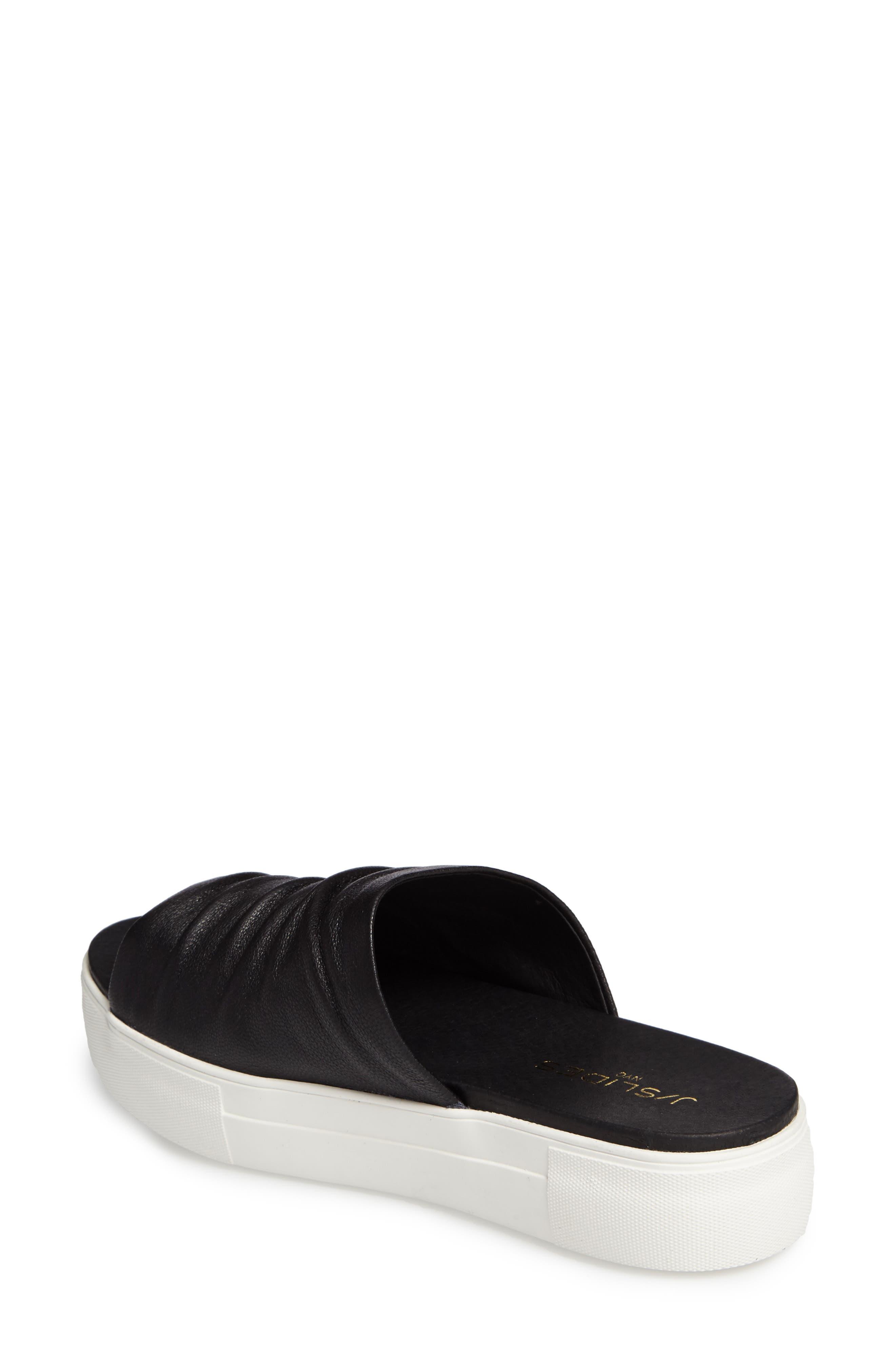 Alura Platform Slide Sandal,                             Alternate thumbnail 3, color,                             Black Leather