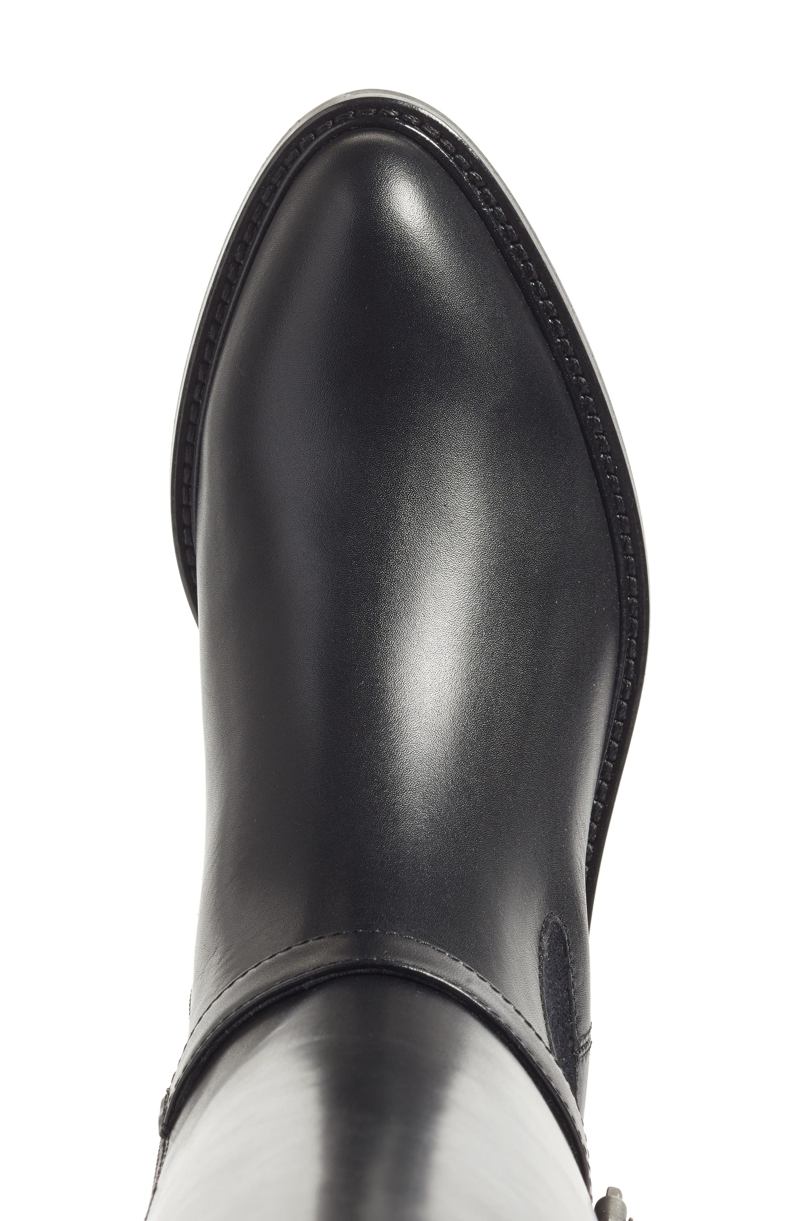 Genna Weatherproof Tall Boot,                             Alternate thumbnail 6, color,                             Black Calf/ Elastic/ Suede