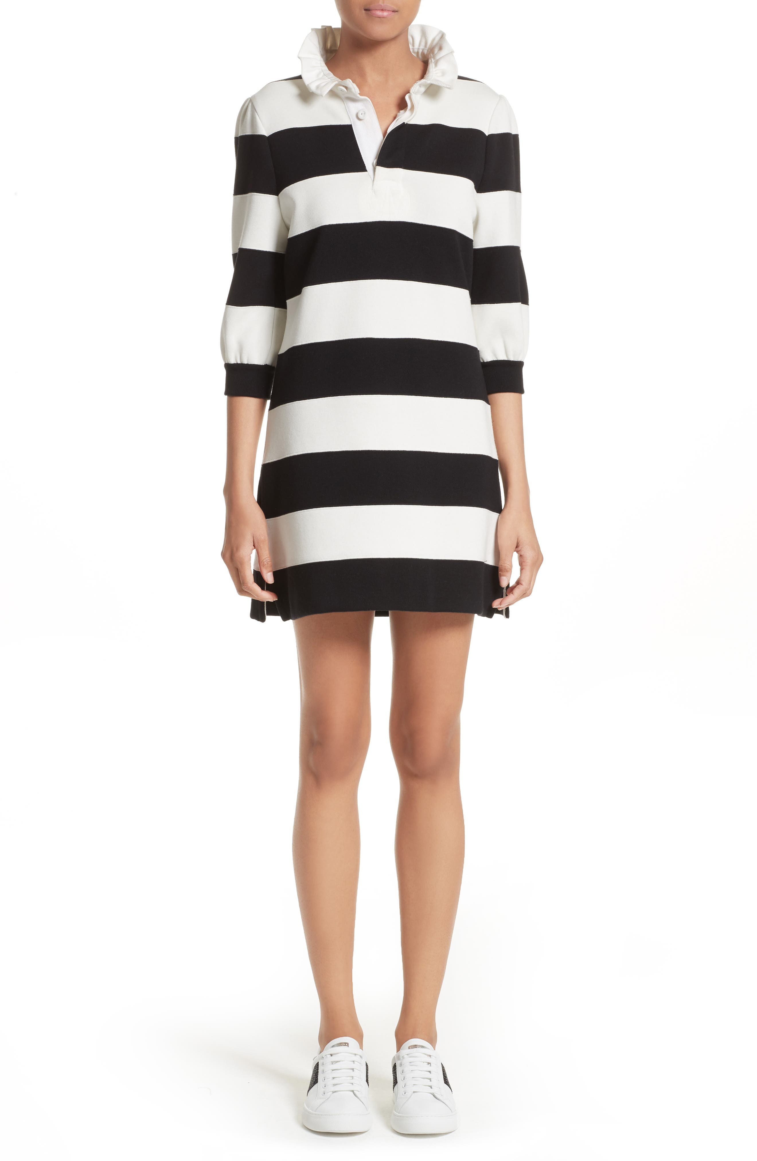 Rugby Sweater Dress,                             Main thumbnail 1, color,                             Black Multi