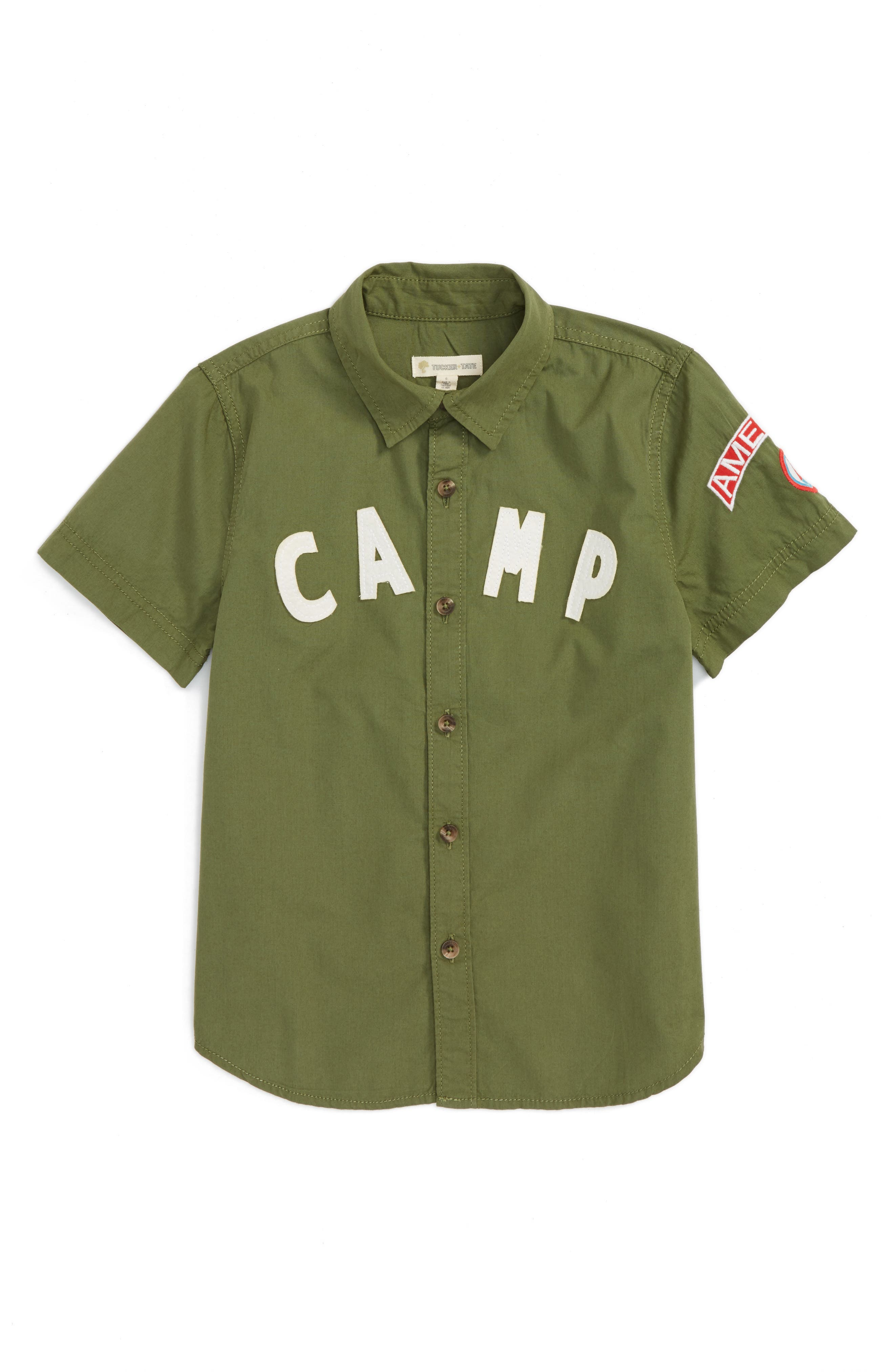 Camp Shirt,                         Main,                         color, Olive Sarma Camp