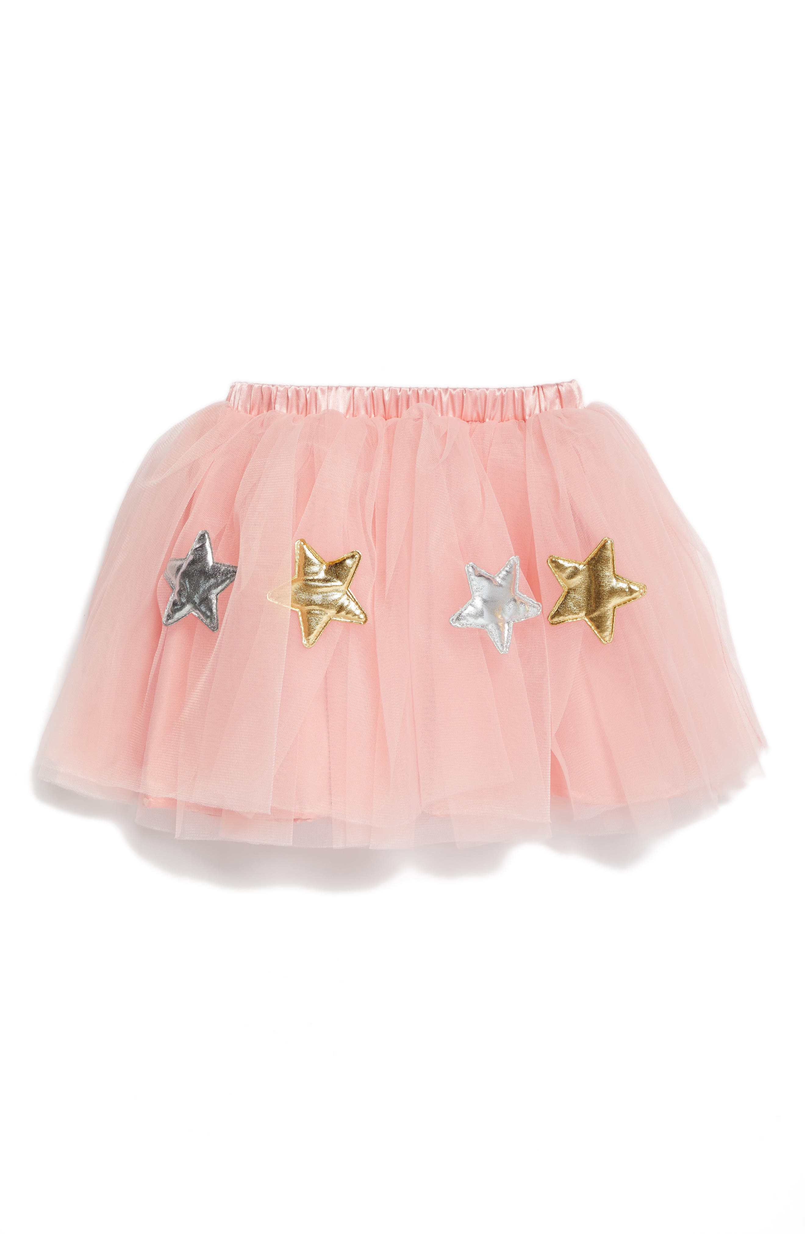 Star Appliqué Tutu Skirt,                         Main,                         color, Peach