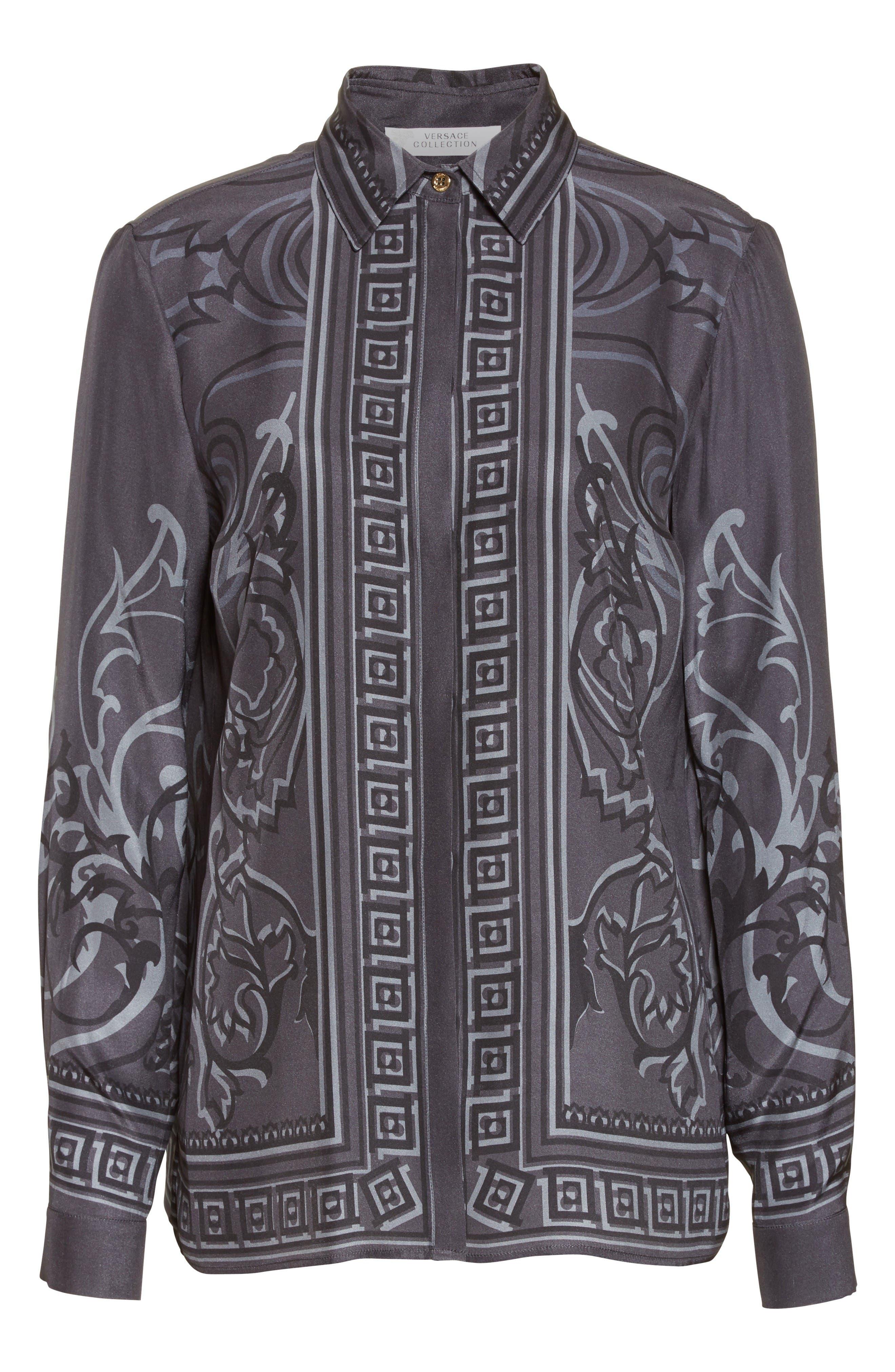 Baroque Print Silk Blouse,                             Alternate thumbnail 4, color,                             Black/ Grey