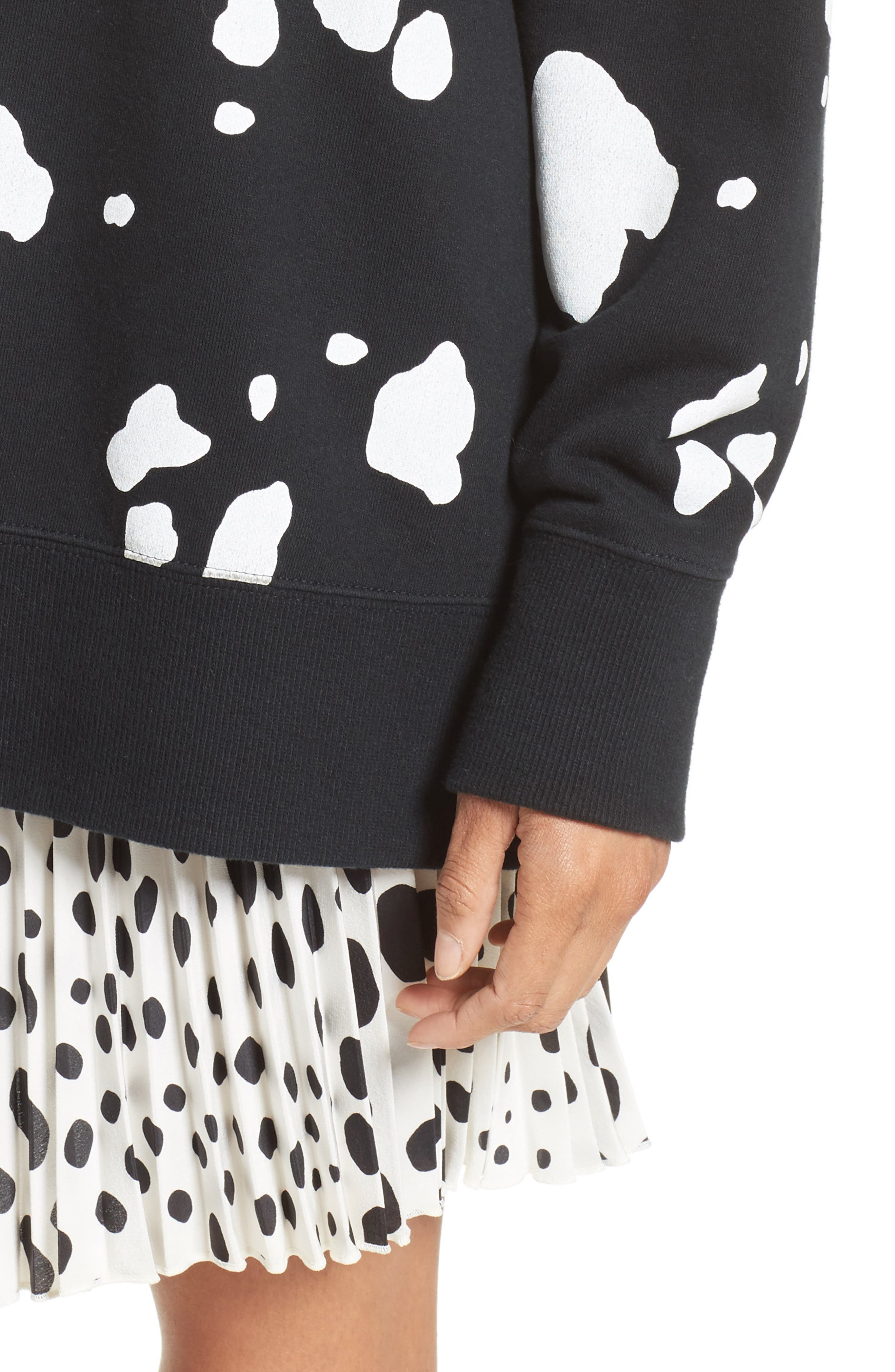 Dalmatian Print Sweatshirt,                             Alternate thumbnail 8, color,                             Black Multi