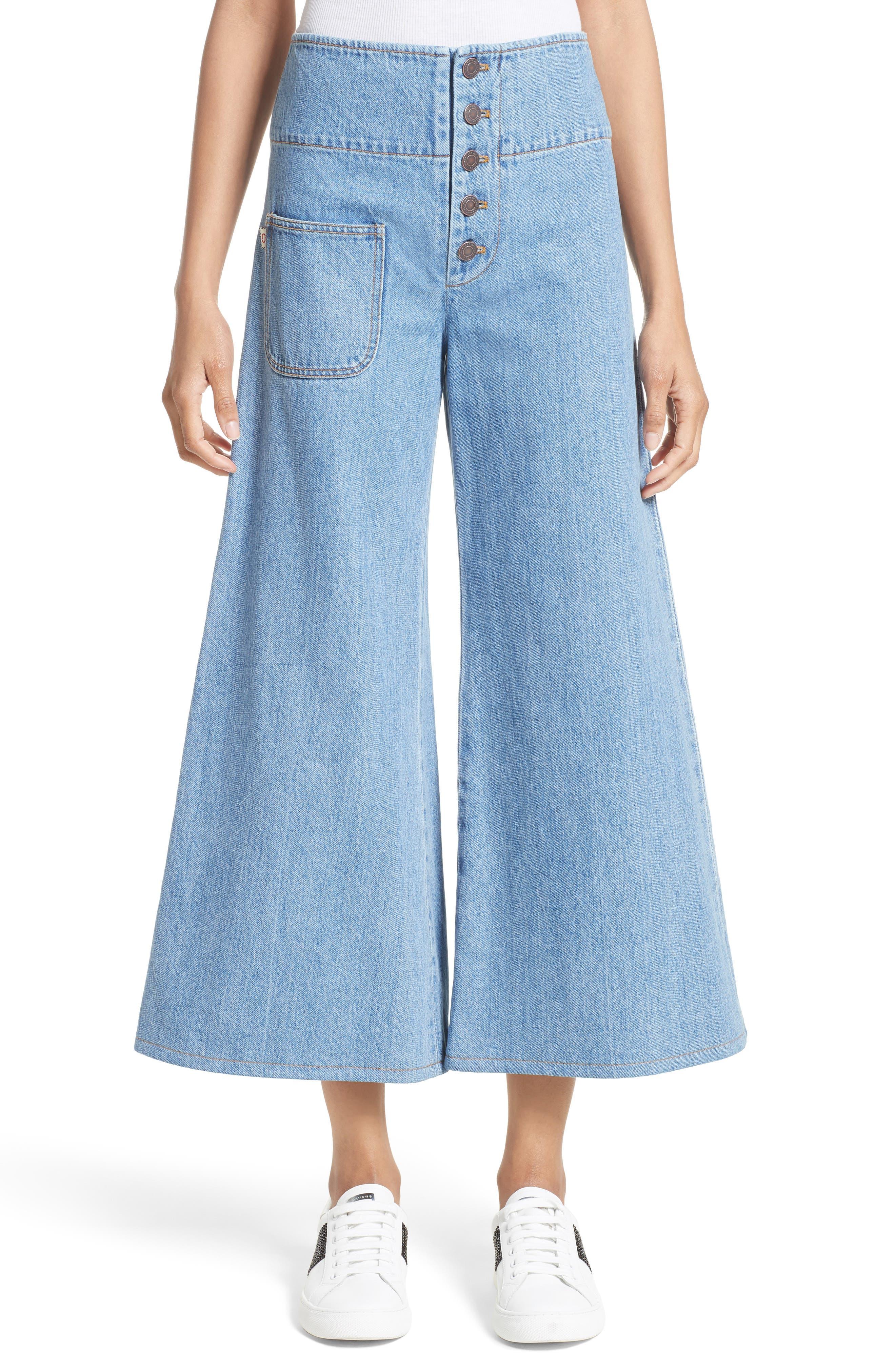 High Waist Crop Flare Jeans,                             Main thumbnail 1, color,                             Retro Indigo