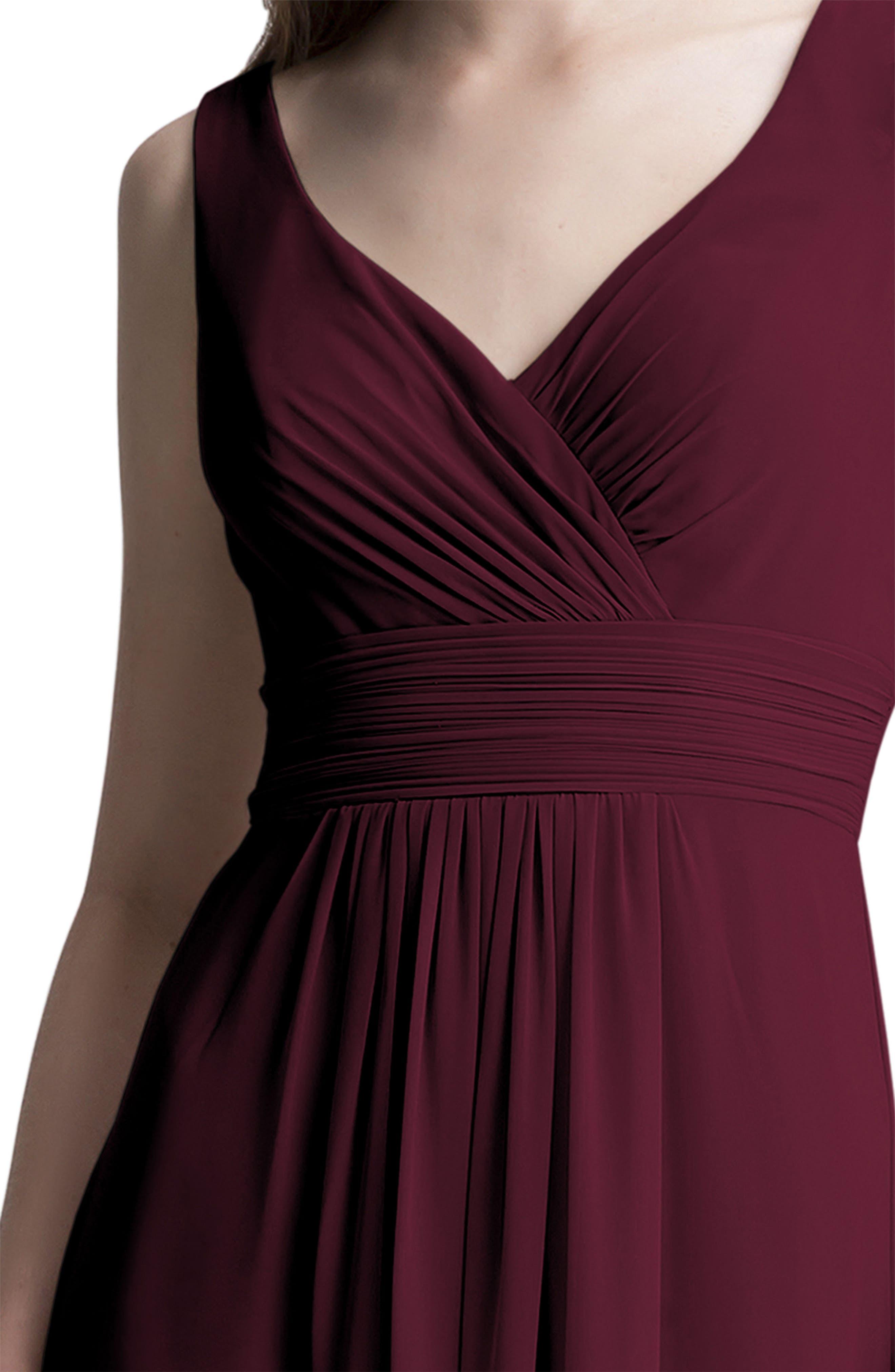 Alternate Image 3  - #Levkoff V-Neck Chiffon A-Line Gown