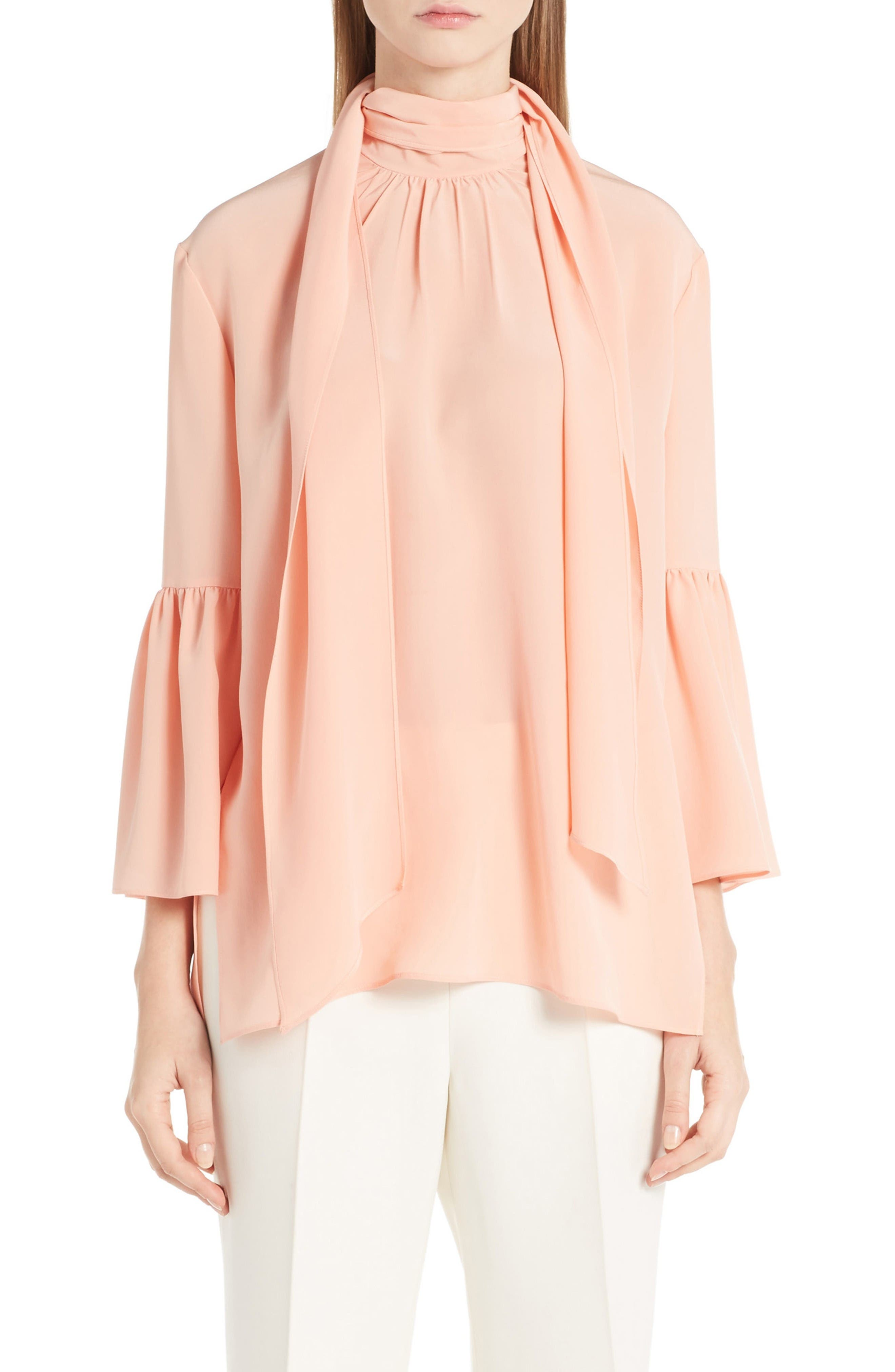 Fendi Silk Bell Sleeve Tie Neck Blouse