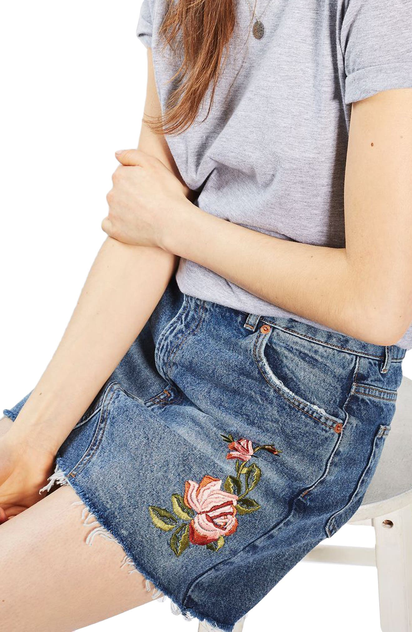 Alternate Image 4  - Topshop Rose Denim Miniskirt (Petite)