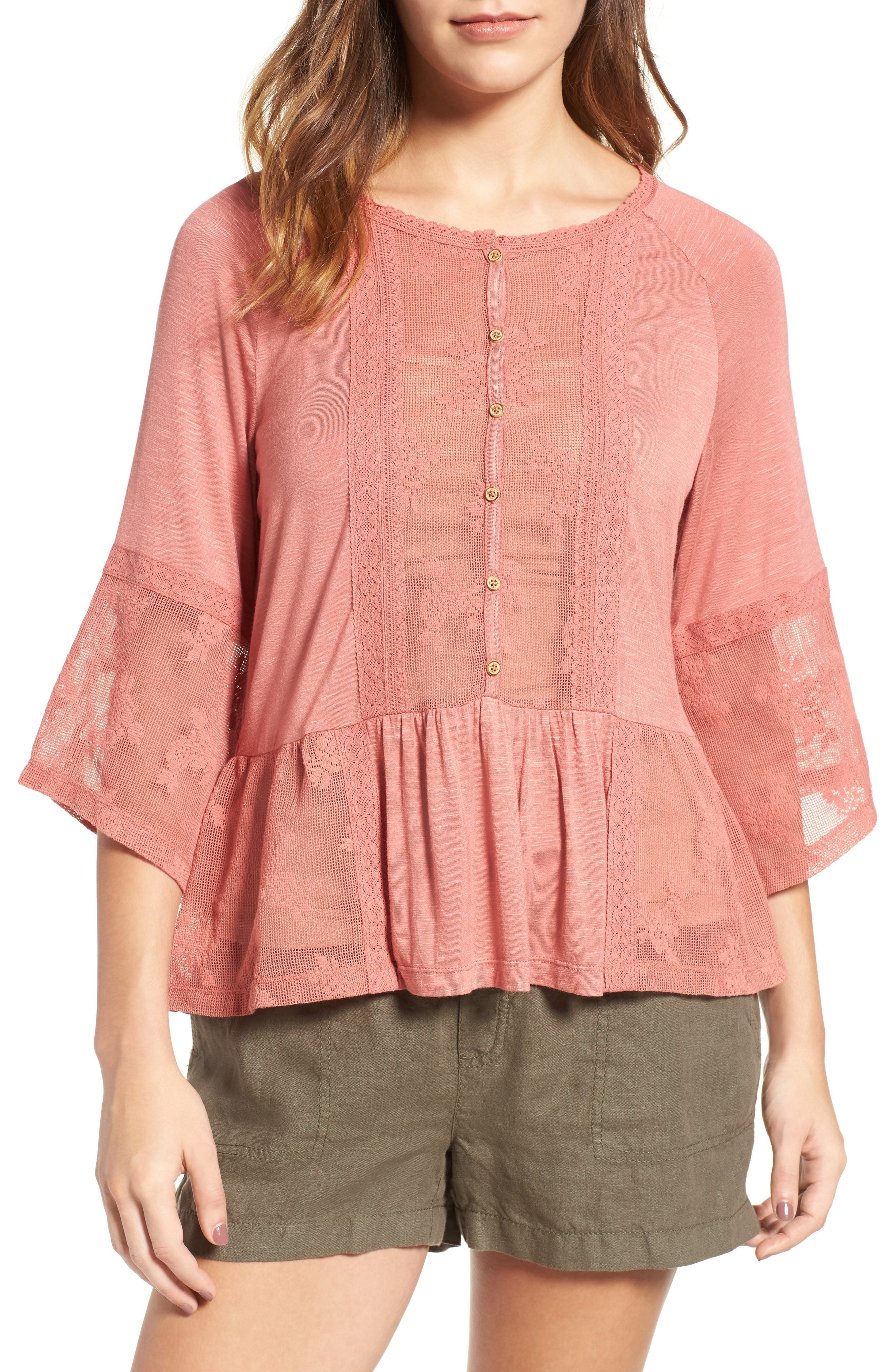 Main Image - Wit & Wisdom Mixed Media Flounce Top (Nordstrom Exclusive)