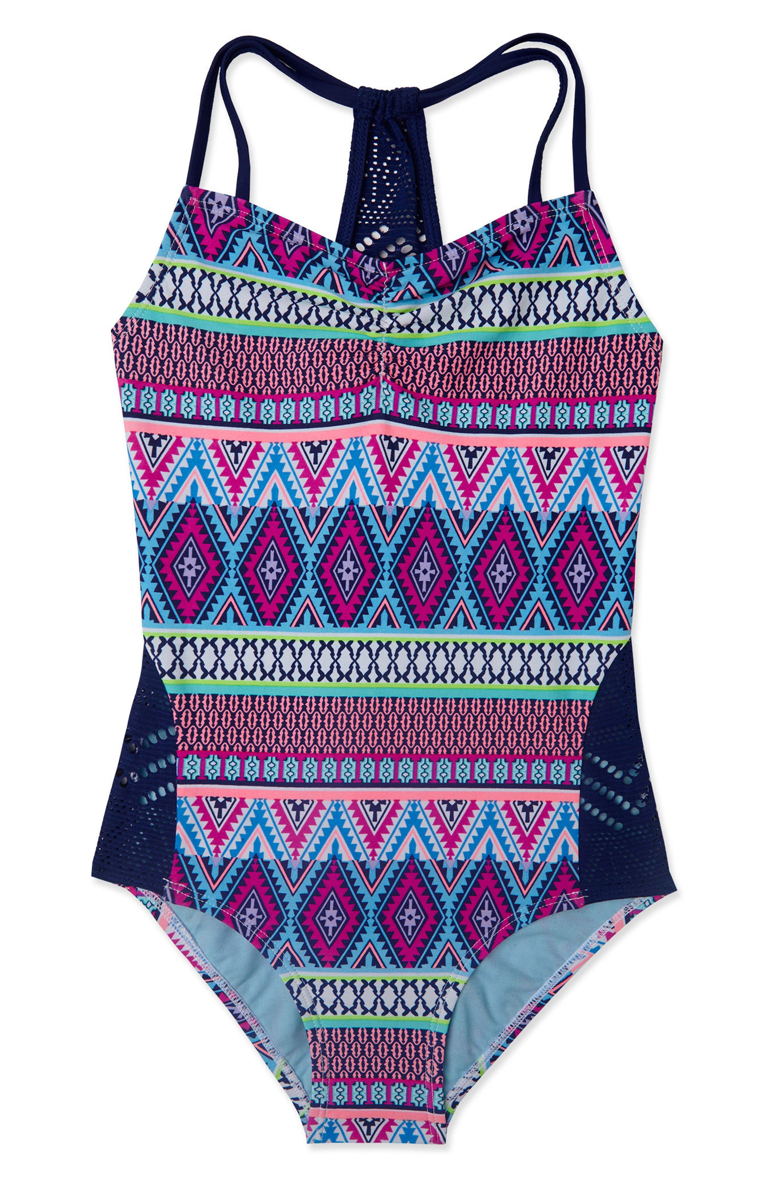 Stripe Fusion One-Piece Swimsuit,                         Main,                         color, Navy/ Pink