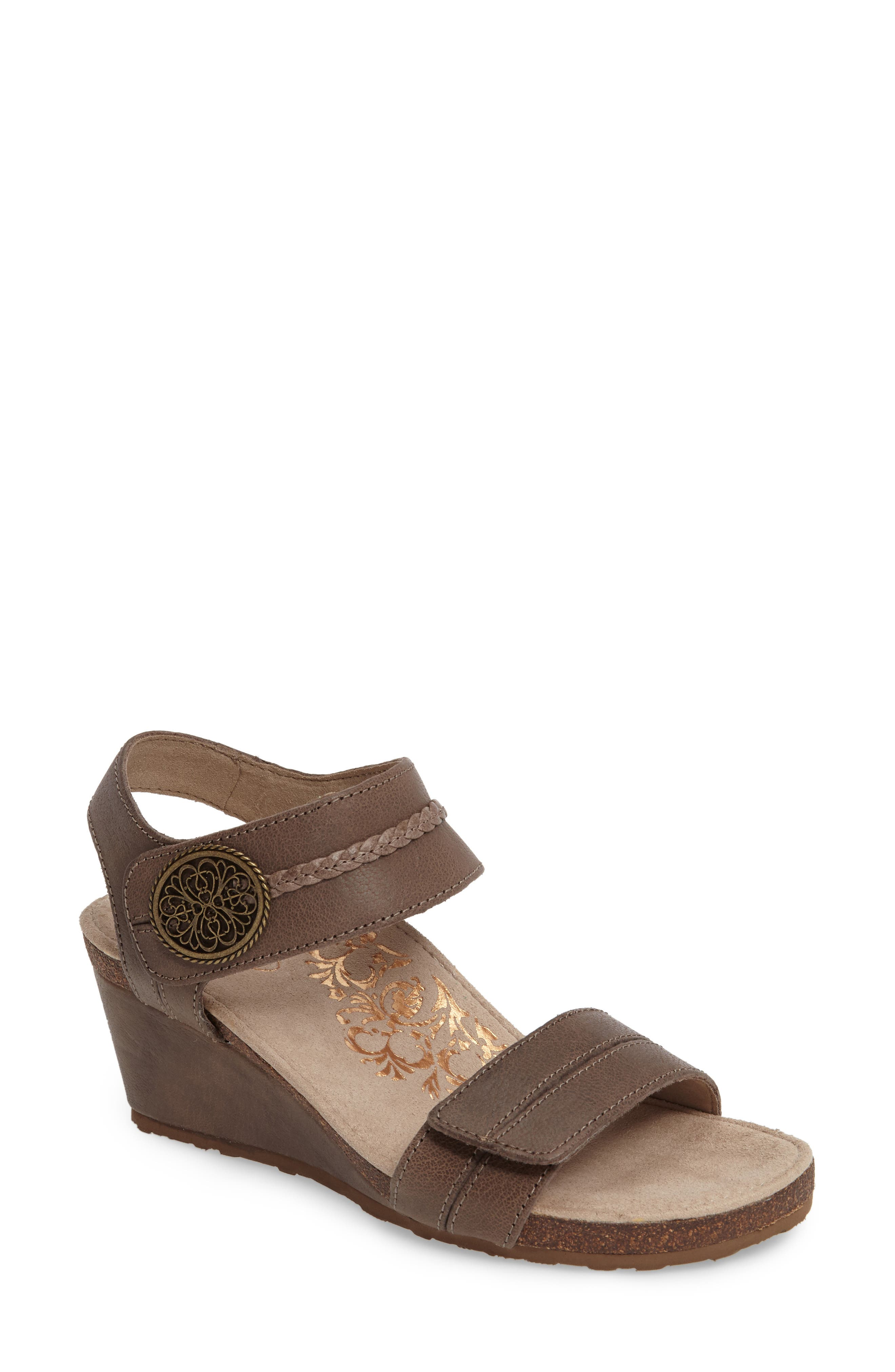 'Arielle' Leather Wedge Sandal,                             Main thumbnail 1, color,                             Stone Leather