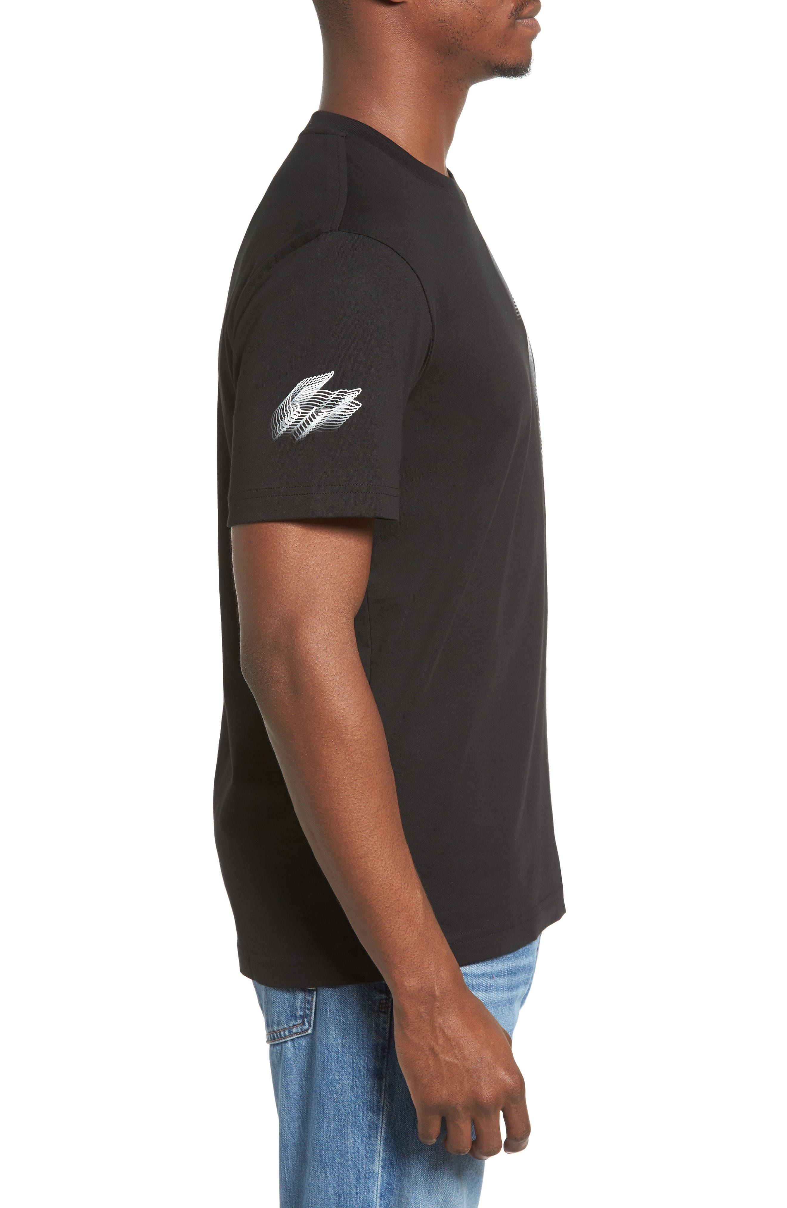 3D Print Logo Graphic T-Shirt,                             Alternate thumbnail 3, color,                             Black/ White