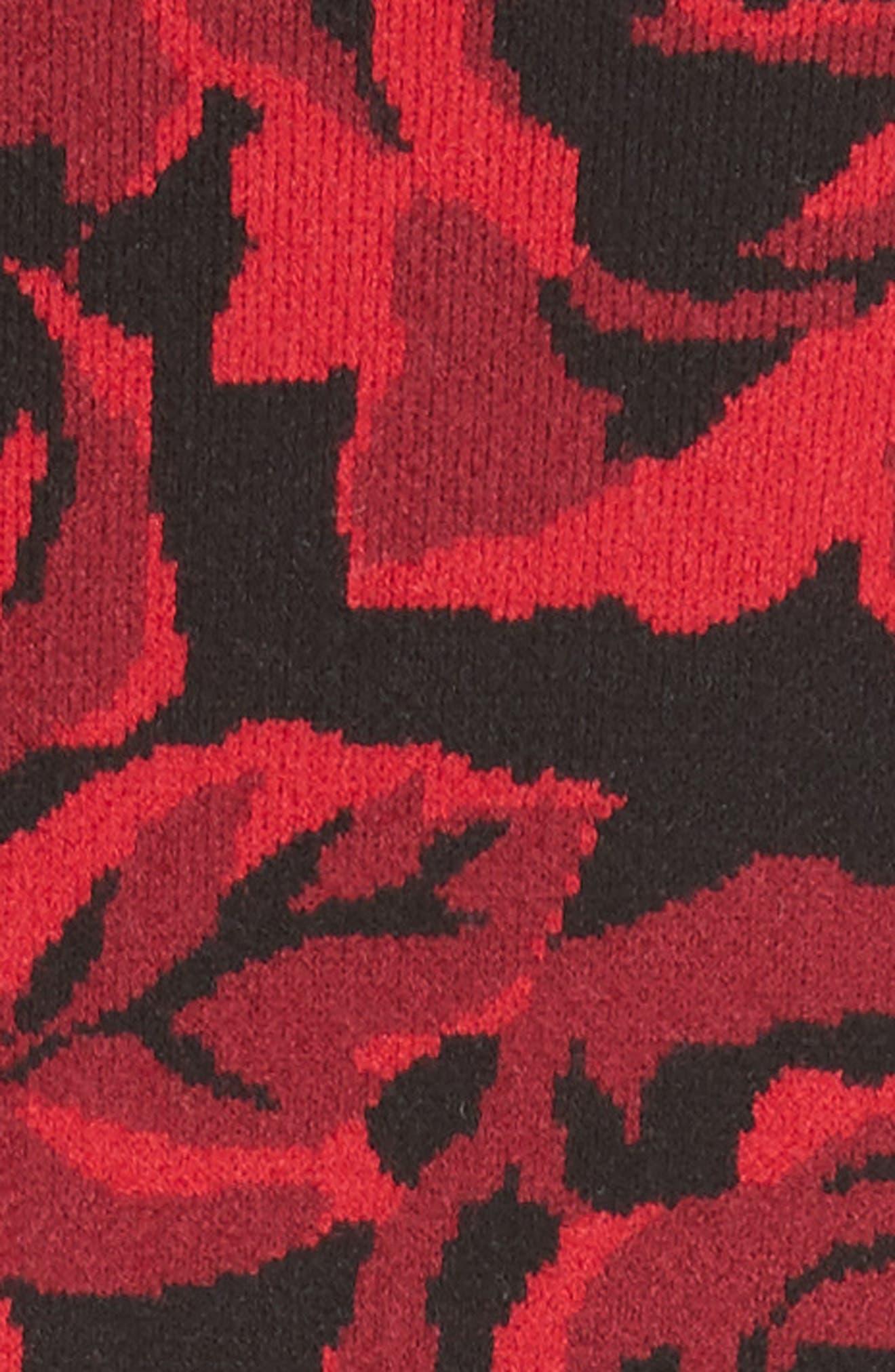 Stretch Rose Jacquard Tank Dress,                             Alternate thumbnail 3, color,                             Crimson/ Black