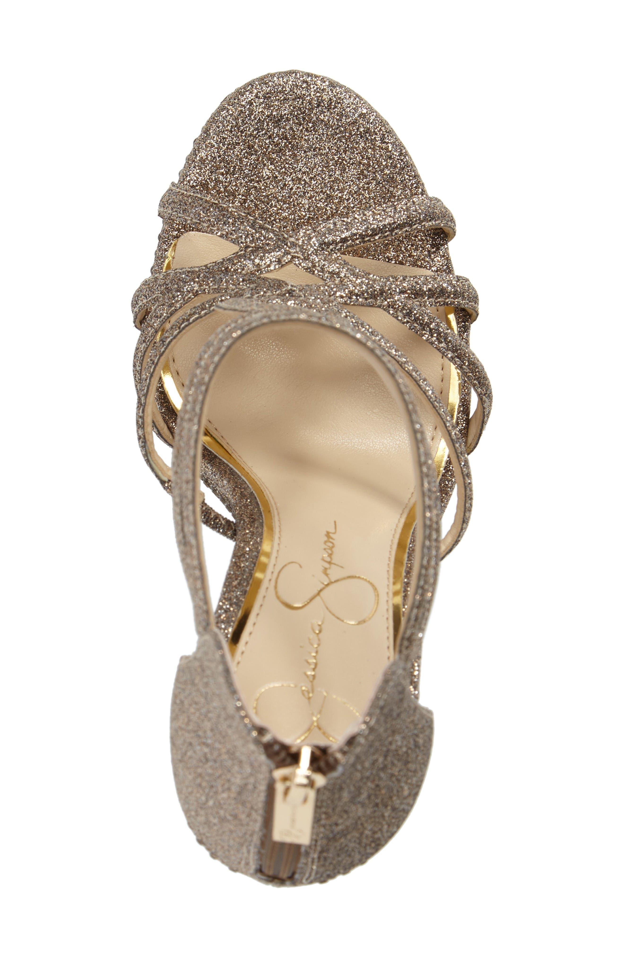 Rozmari Platform Sandal,                             Alternate thumbnail 5, color,                             Soft Gold