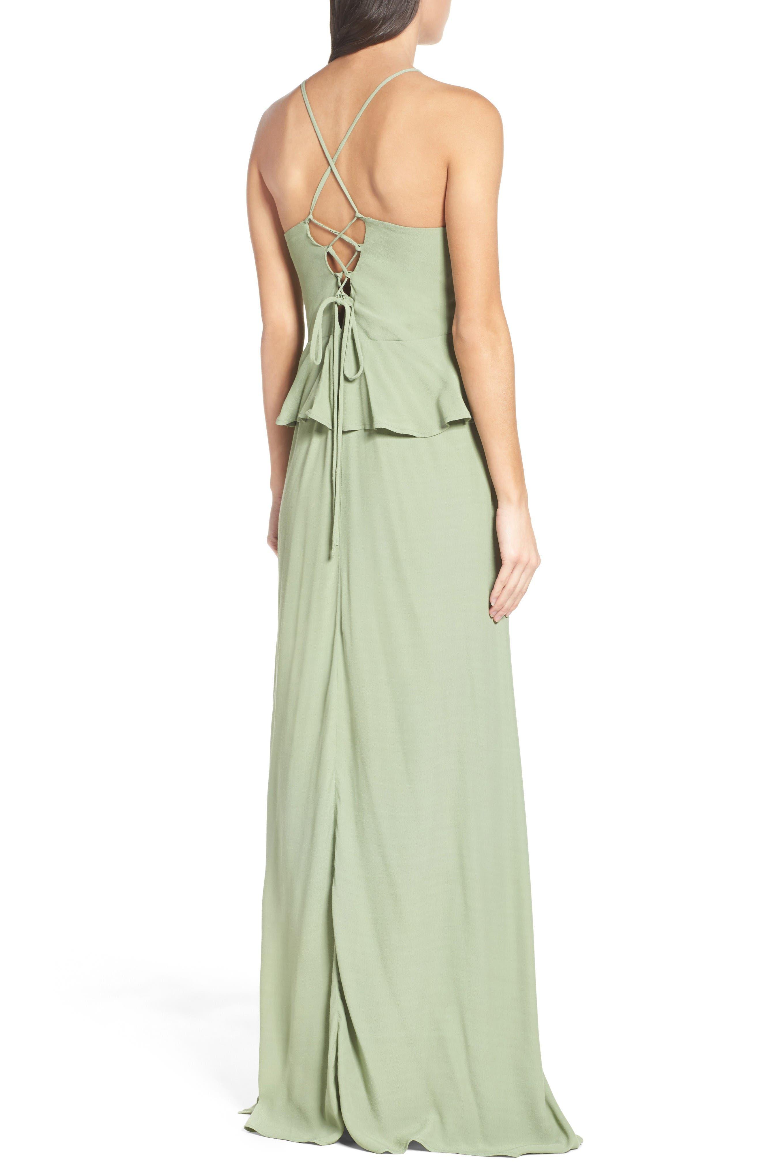 Roe + May Jolie Crepe Peplum Dress,                             Alternate thumbnail 2, color,                             Sage