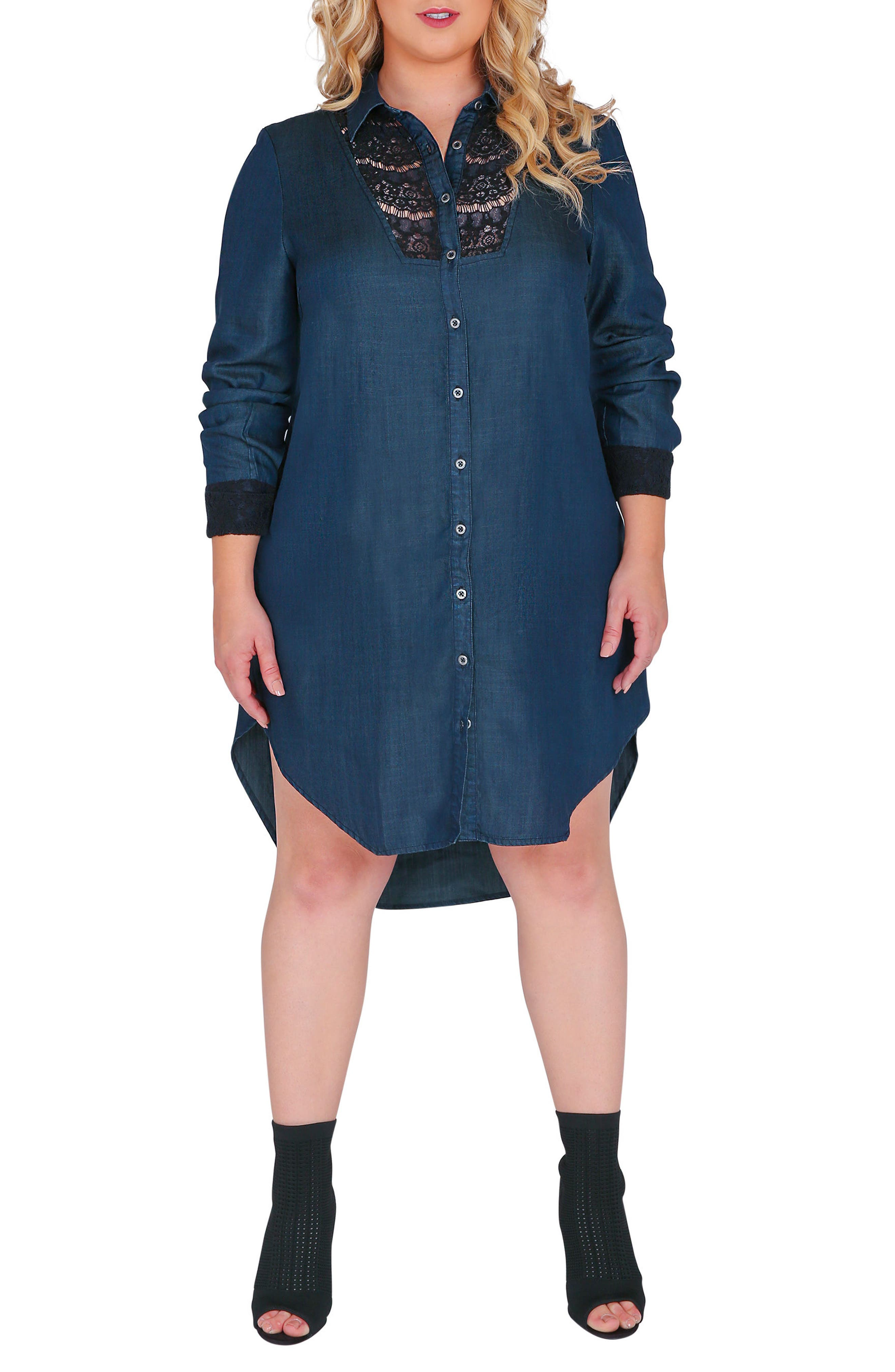 Felicity Lace Trim Denim Shirtdress,                         Main,                         color, Blue
