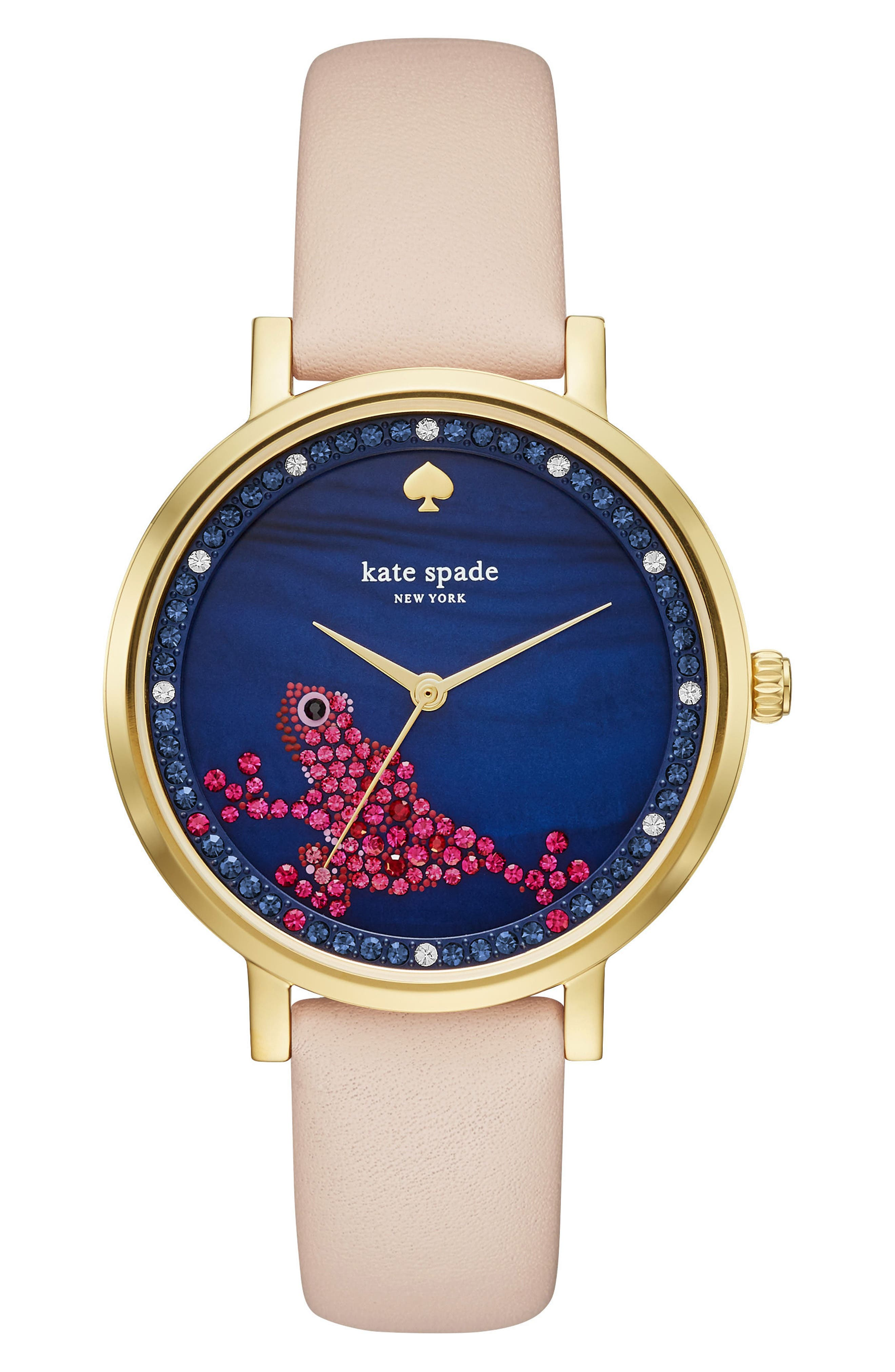 KATE SPADE NEW YORK monterey round leather strap watch, 38mm