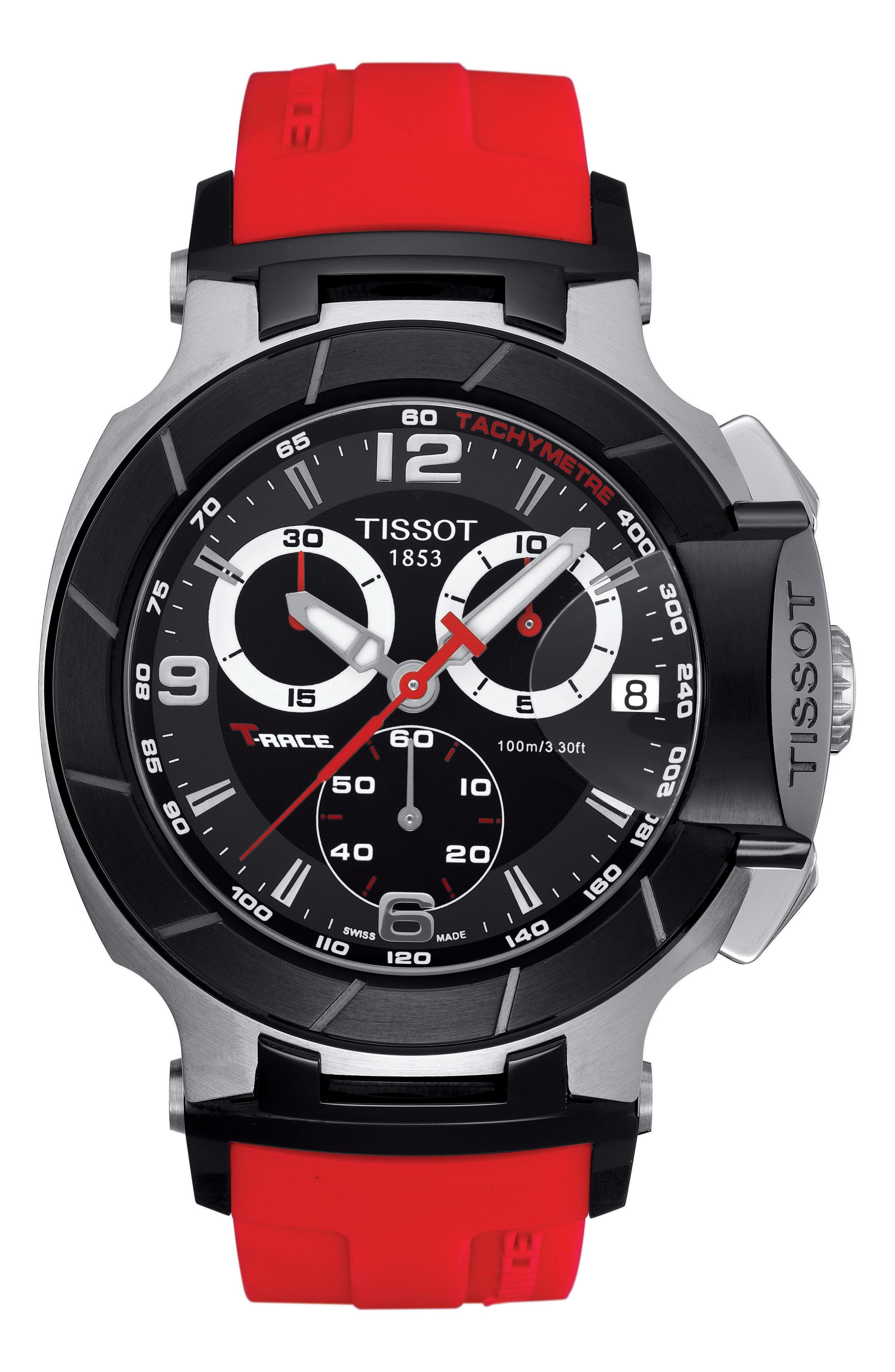 T-Race Chronograph Silicone Strap Watch, 50mm,                         Main,                         color, Red/ Black/ Silver
