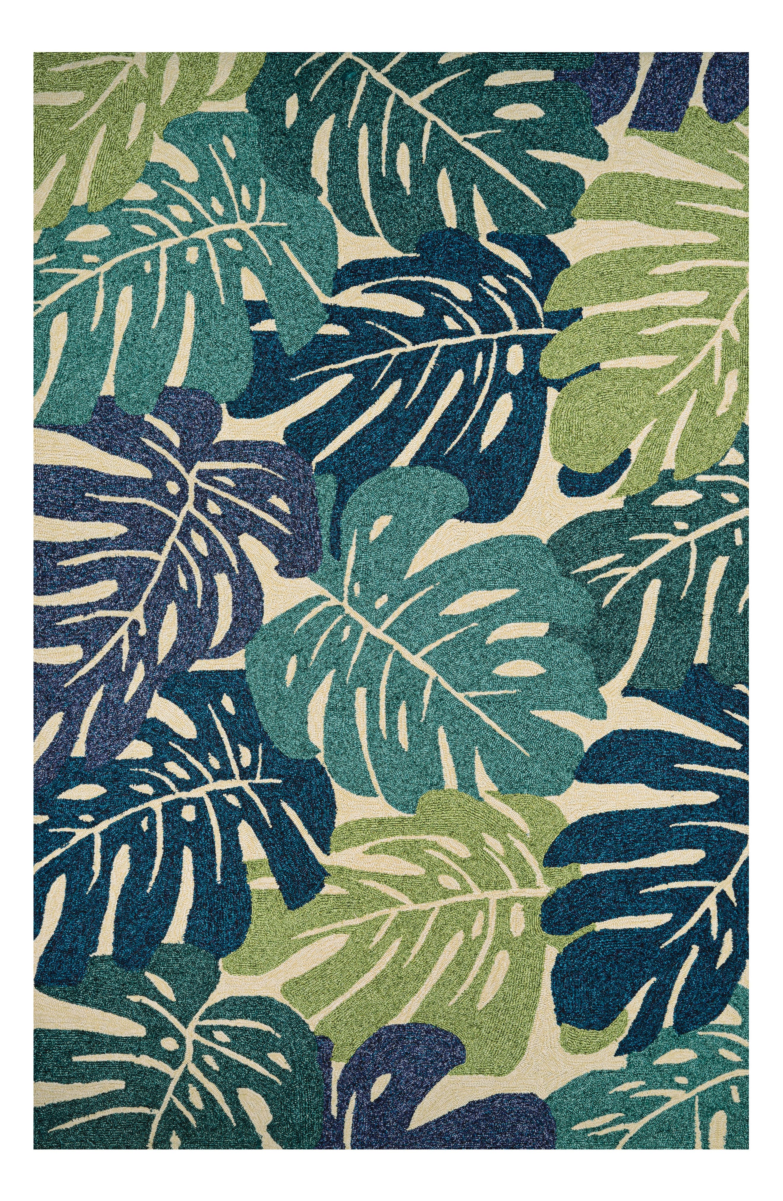 Monstera Indoor/Outdoor Rug,                             Main thumbnail 1, color,                             Blue/ Green