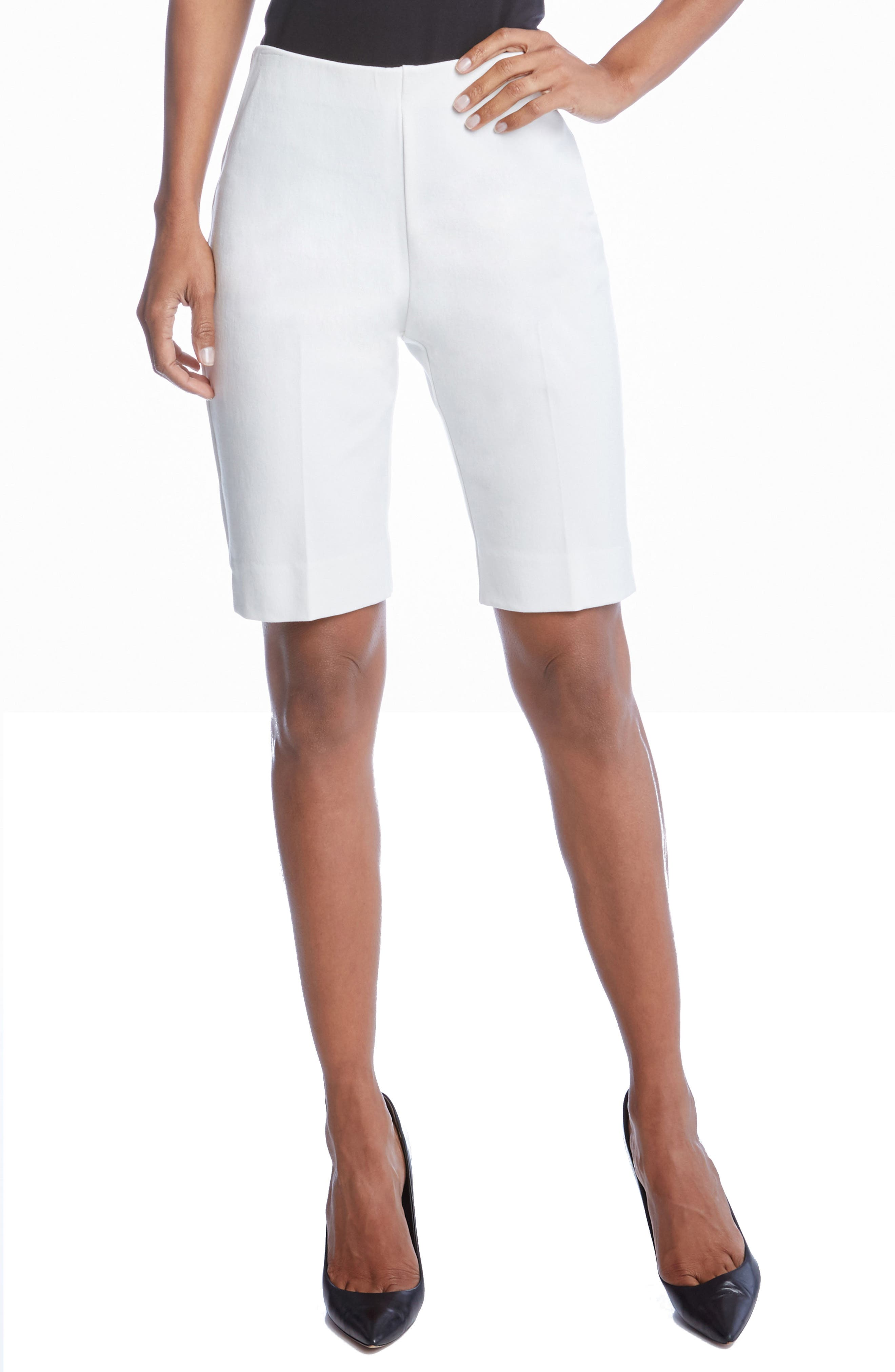 Side Slit Bermuda Shorts,                         Main,                         color, Off White